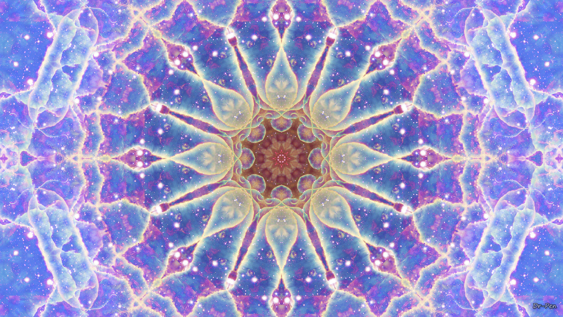 Artistic Manipulation Digital Art Abstract Mandala Space Blue Star Pattern Purple 1920x1080