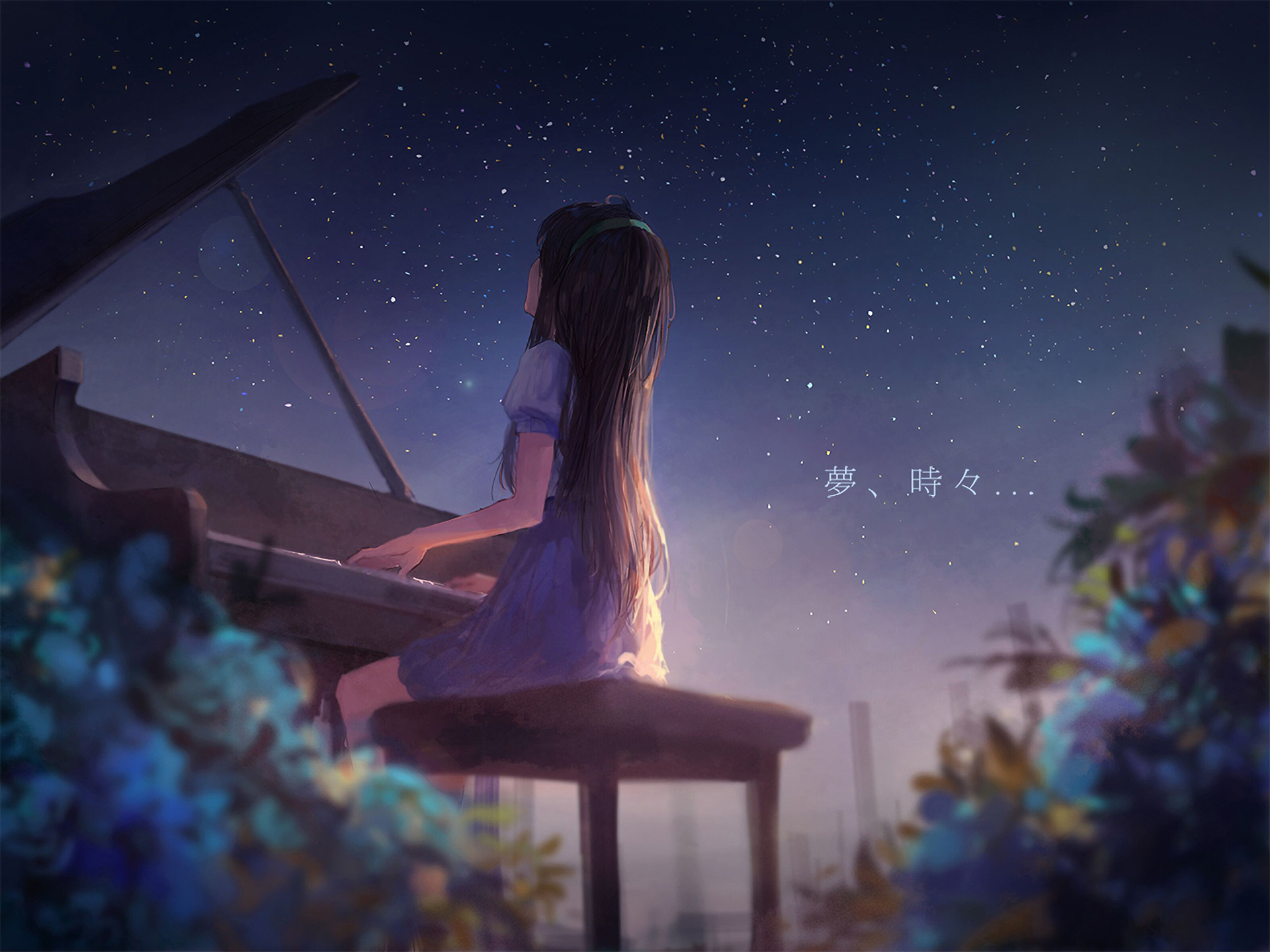 Anime Anime Girls Piano Fantasy Art Digital Night Alone Classical