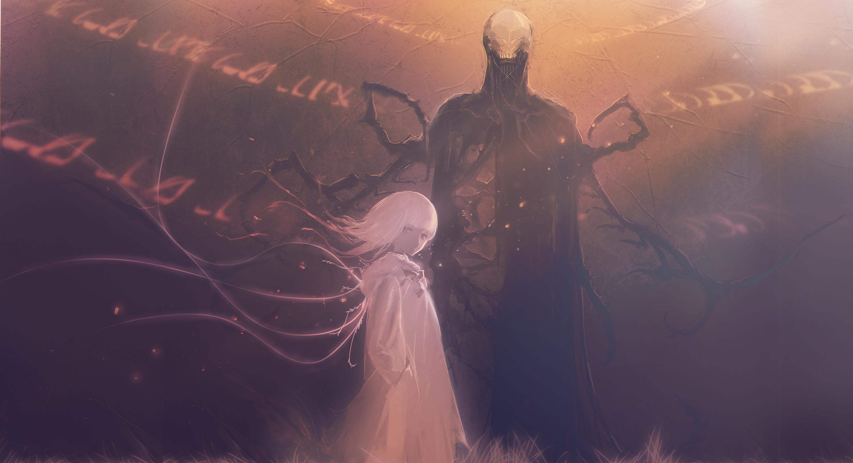 Digital Art Fantasy Art Artwork Original Characters Anime Girls Devil Slender Horror White Hair Huke 3000x1629