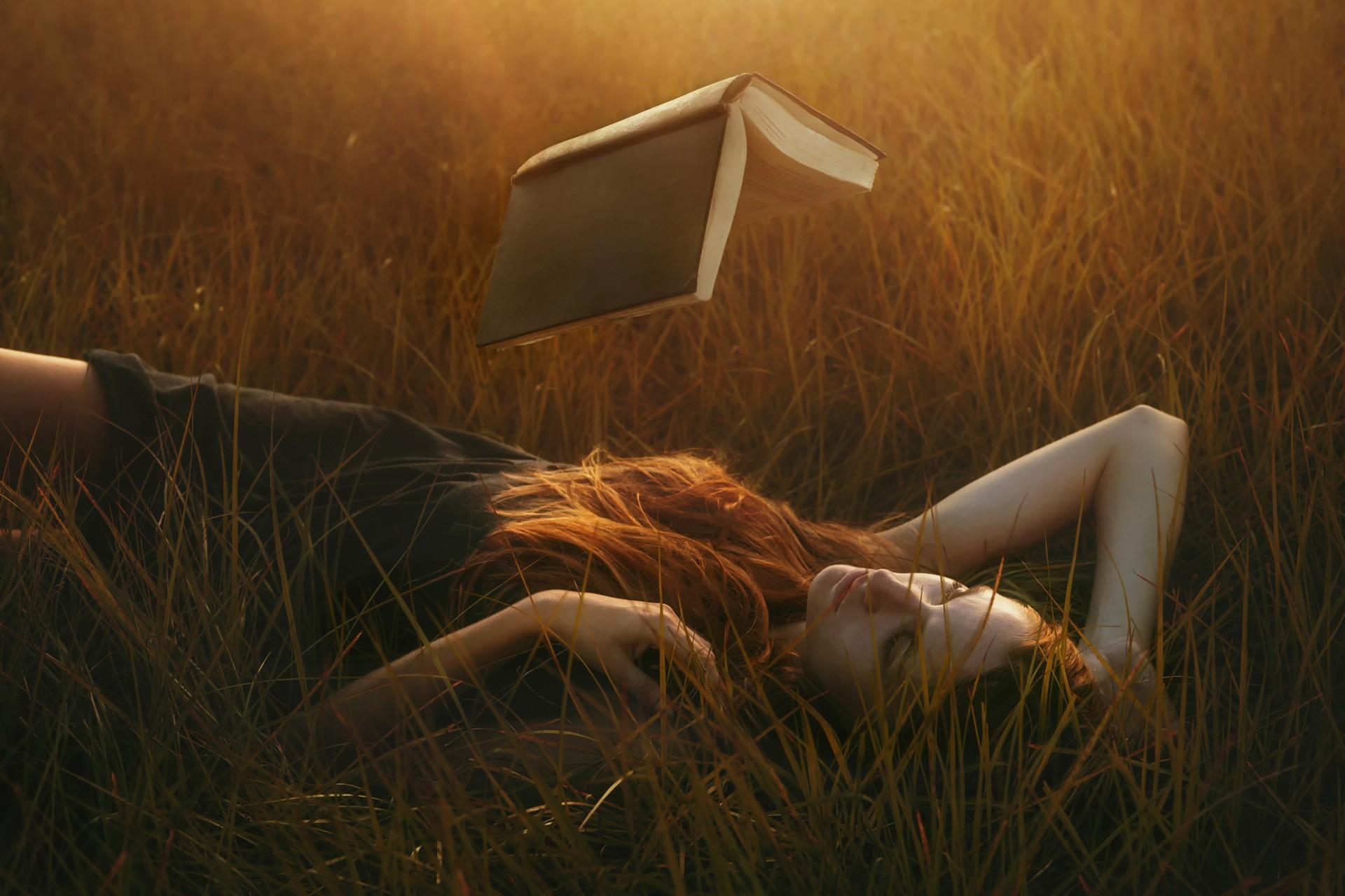 Women Outdoors Books Redhead Floating Grass Sunlight Introvert 1920x1280