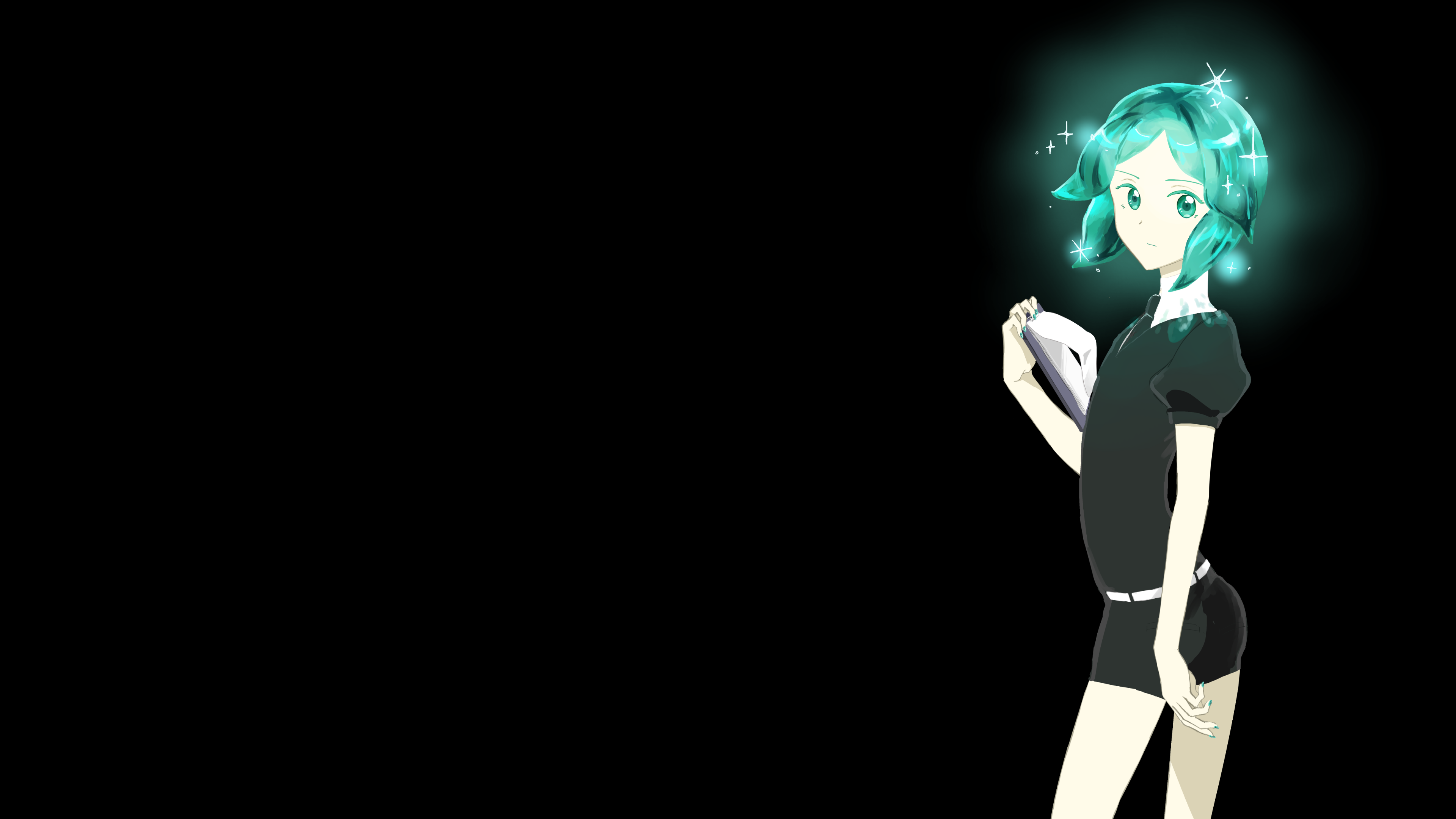 Black Background Anime Anime Girls Houseki No Kuni Phos Houseki No Kuni Aqua Hair Wallpaper Resolution 3840x2160 Id 124831 Wallha Com