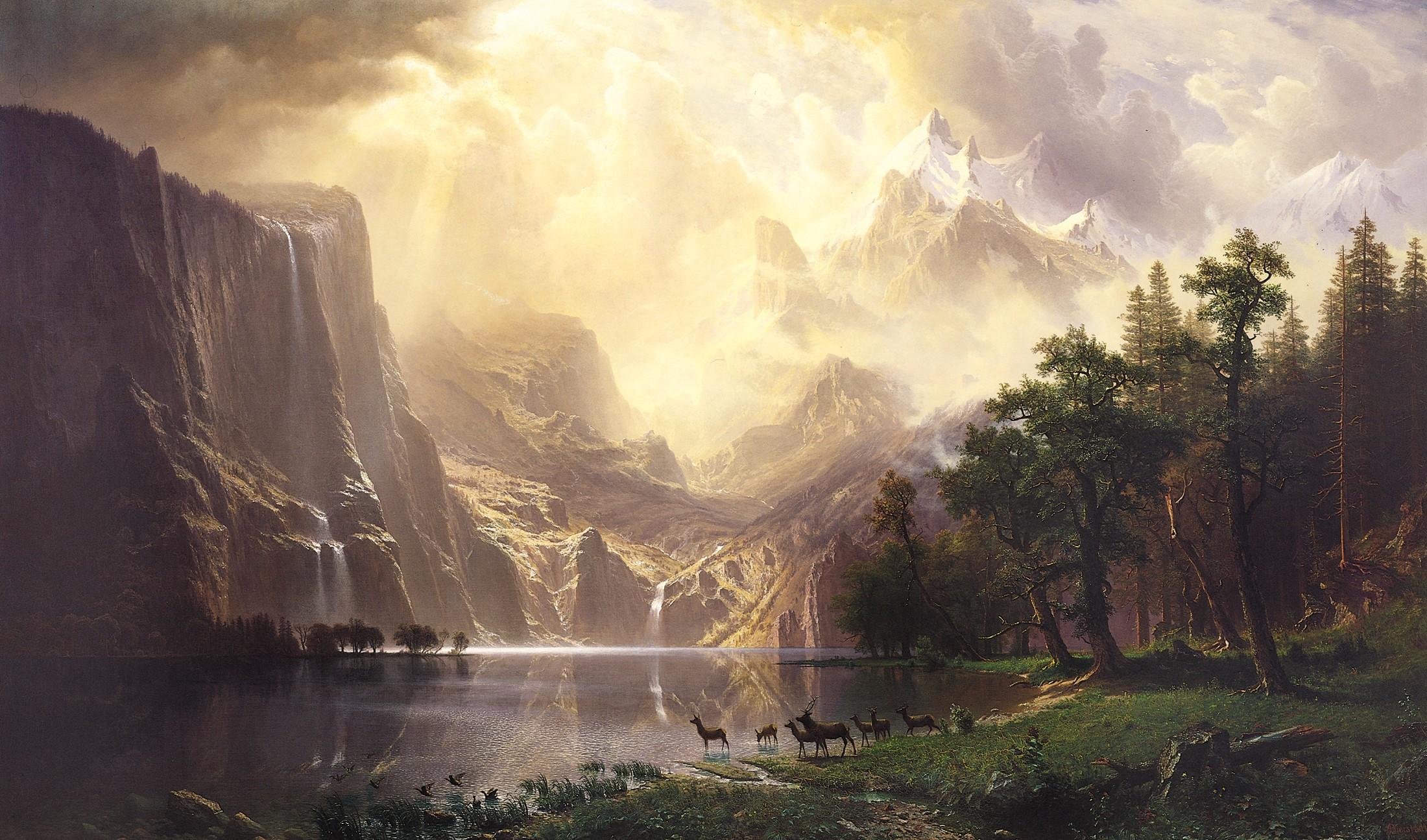 Nature Albert Bierstadt Artwork Deer 2200x1295