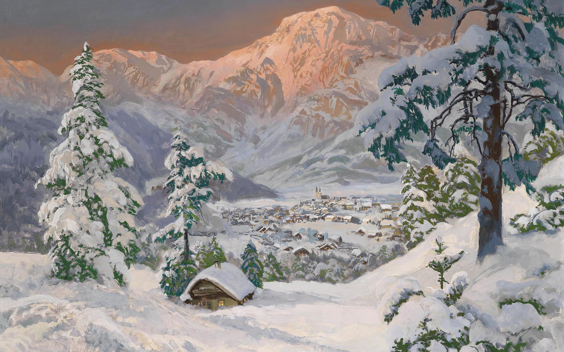 Artistic Winter Landscape Snow Village Painting 1920x1200
