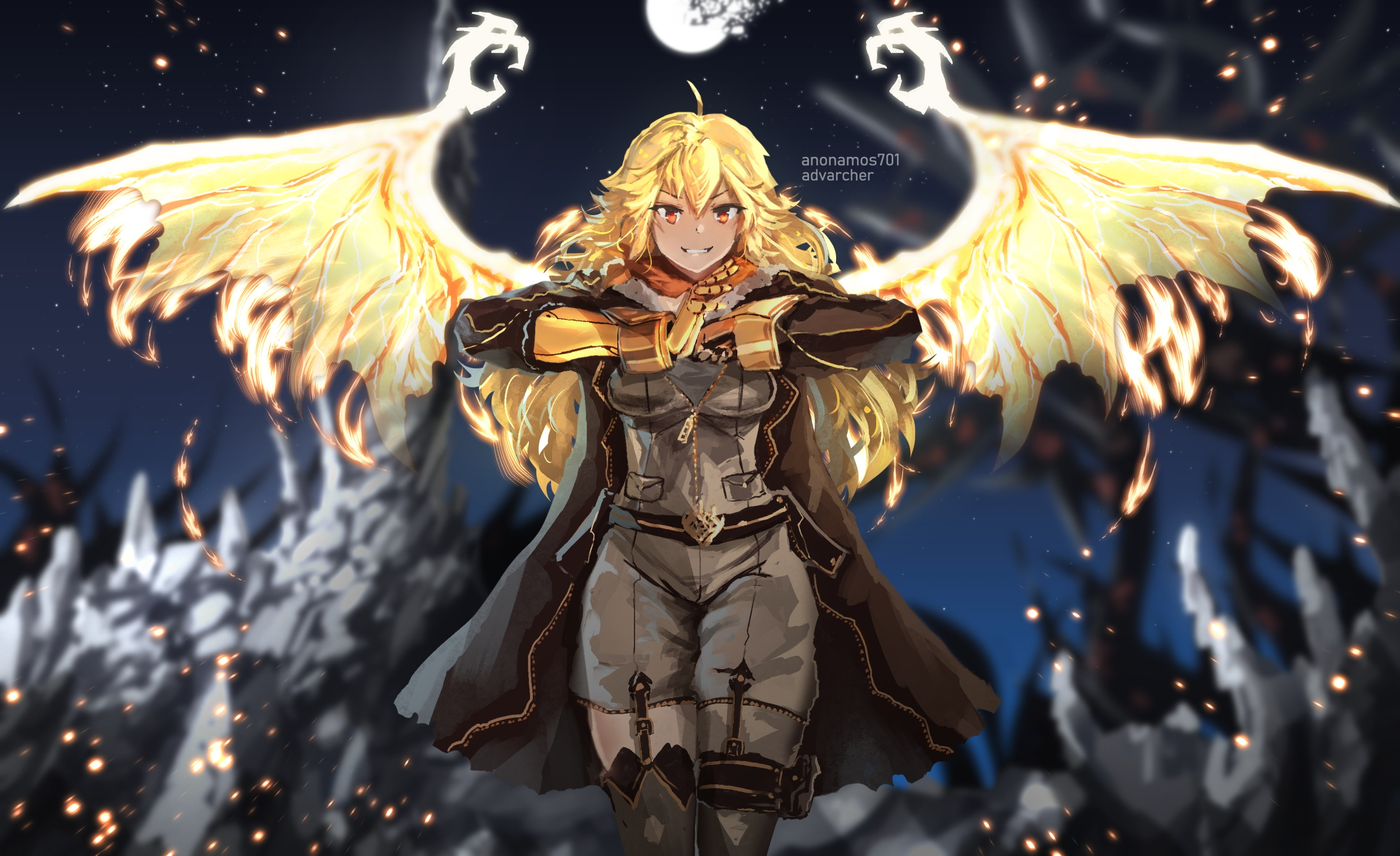 Rwby Anime Girls Digital Art Fan Art Yang Xiao Long Gauntlets Artwork Long Hair Yellow Hair Orange E Wallpaper Resolution 2520x1540 Id 159149 Wallha Com