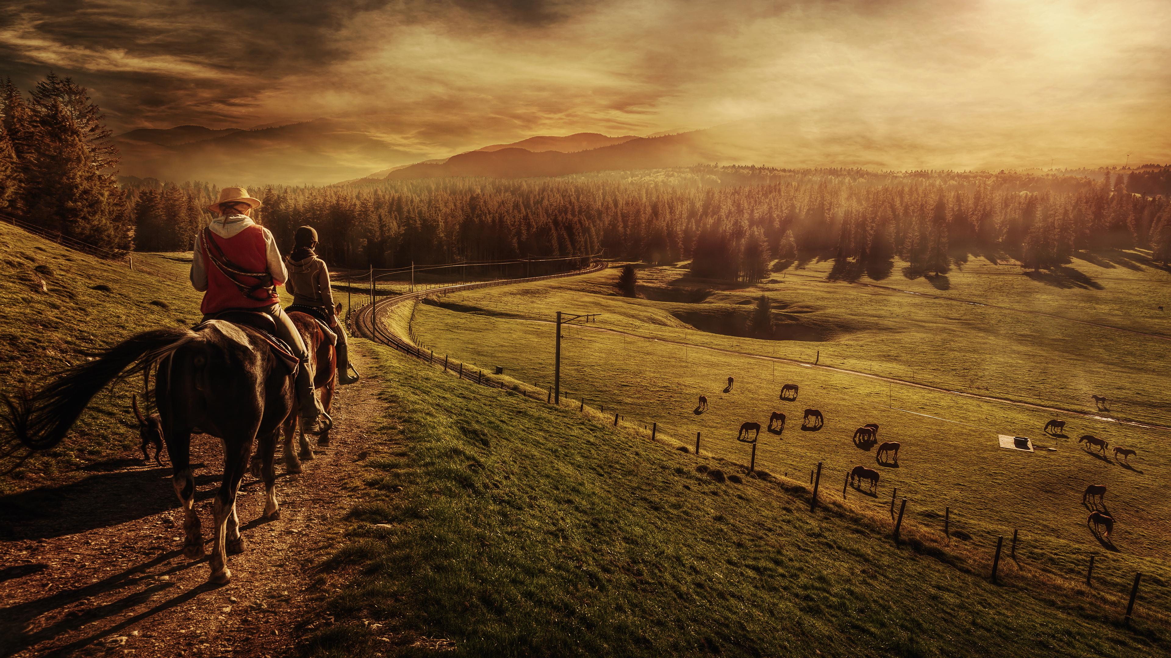 Horse Man People Sunset Landscape 3840x2160