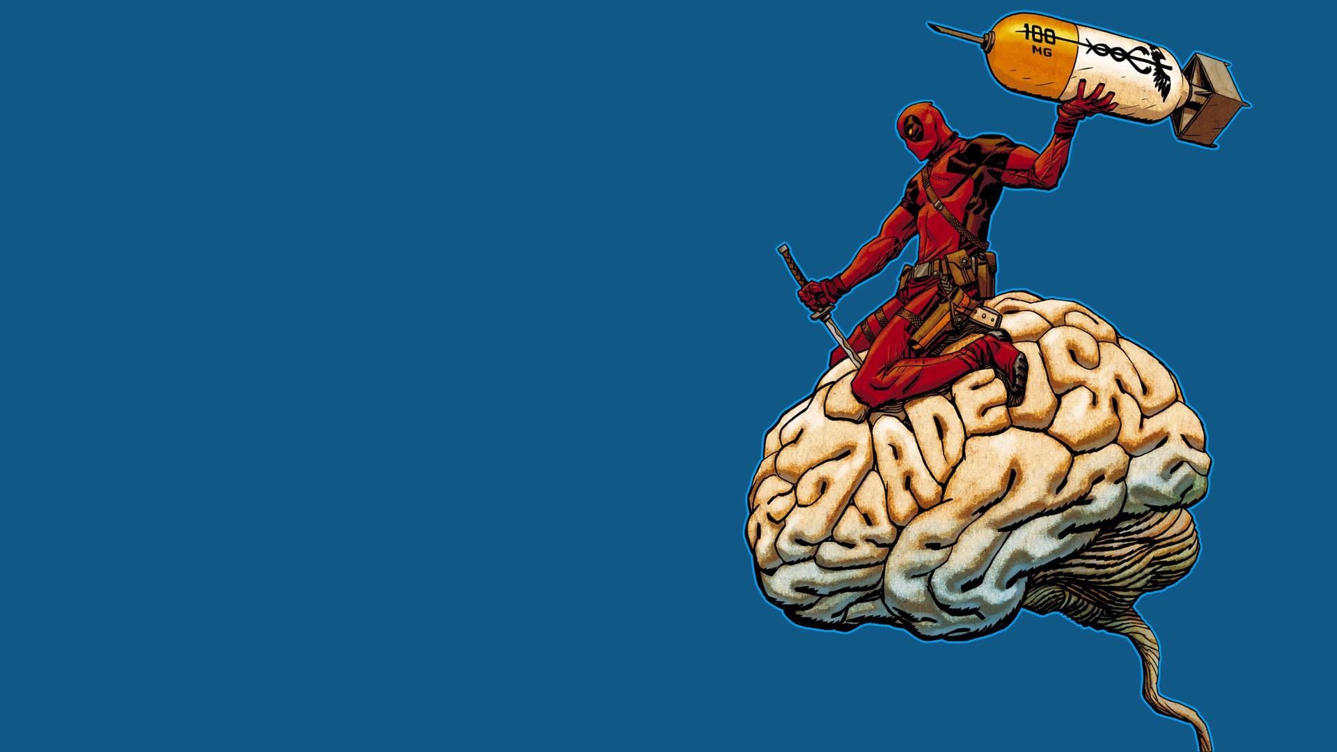 Deadpool Comic Art Brain 1920x1080