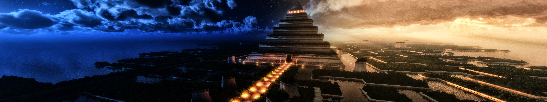 Pyramid Multiple Display Digital Art Sky Building Wallpaper Resolution 5760x1080 Id Wallha Com