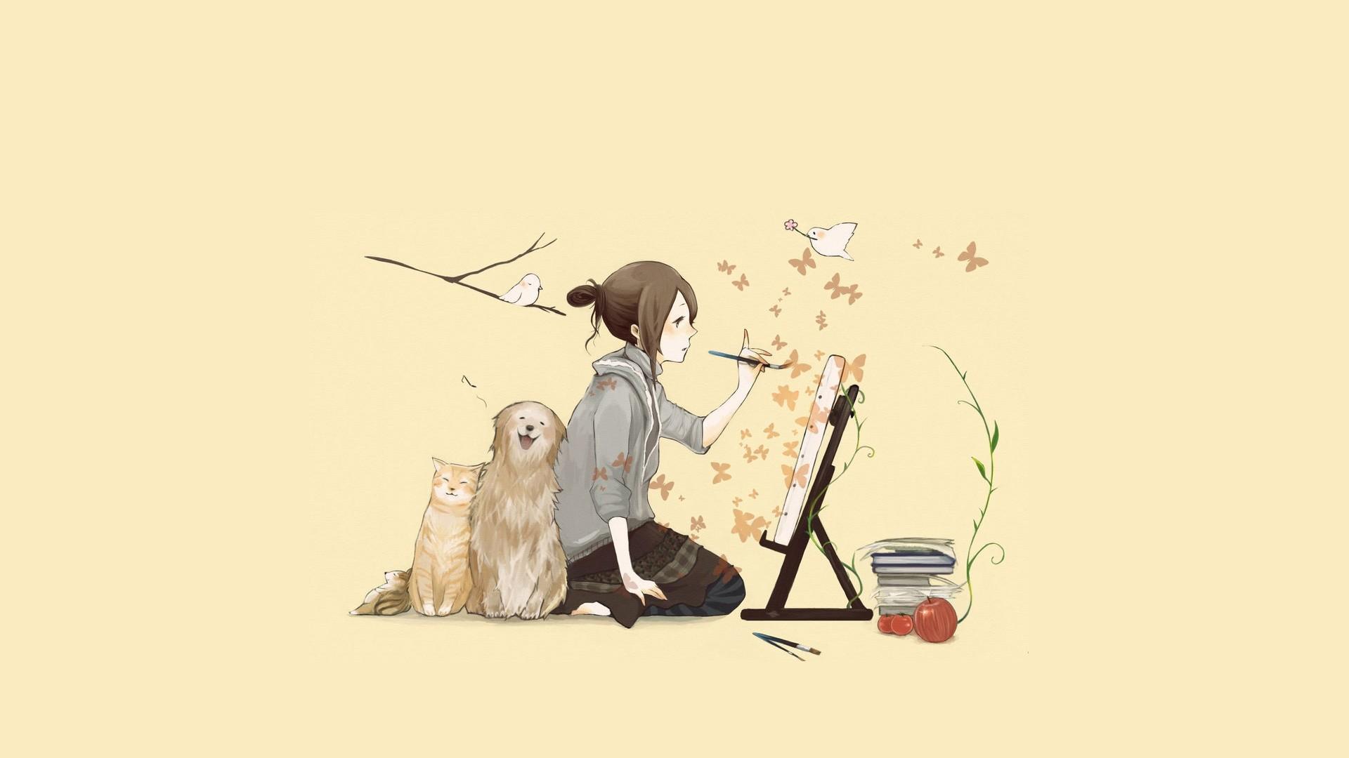 Digital Art Original Characters Painting Dog Cats 1920x1080