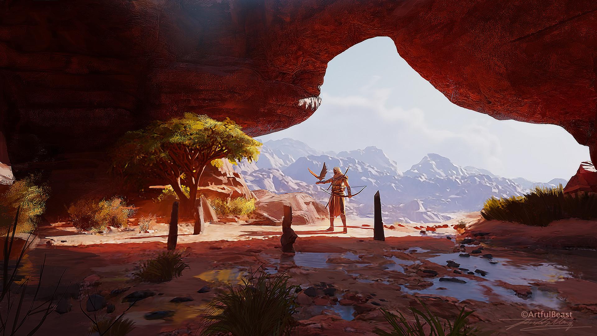 Assassins Creed Origins Video Games Artwork Assassins Creed Egypt Landscape Bayek Eagle Ubisoft 1920x1080