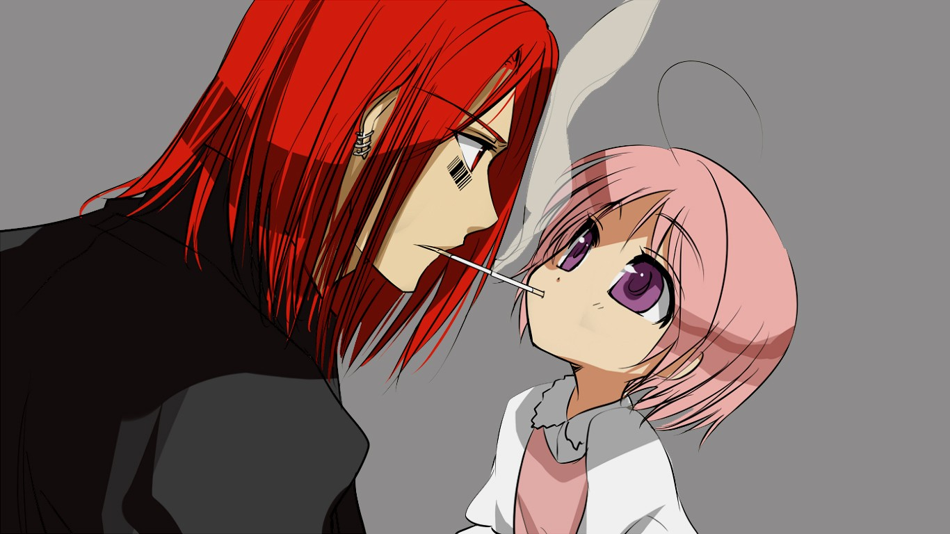 To Aru Majutsu No Index Cigarettes Anime Boys Anime Anime Girls Purple Eyes Redhead Barcode Pink Hai 1366x768