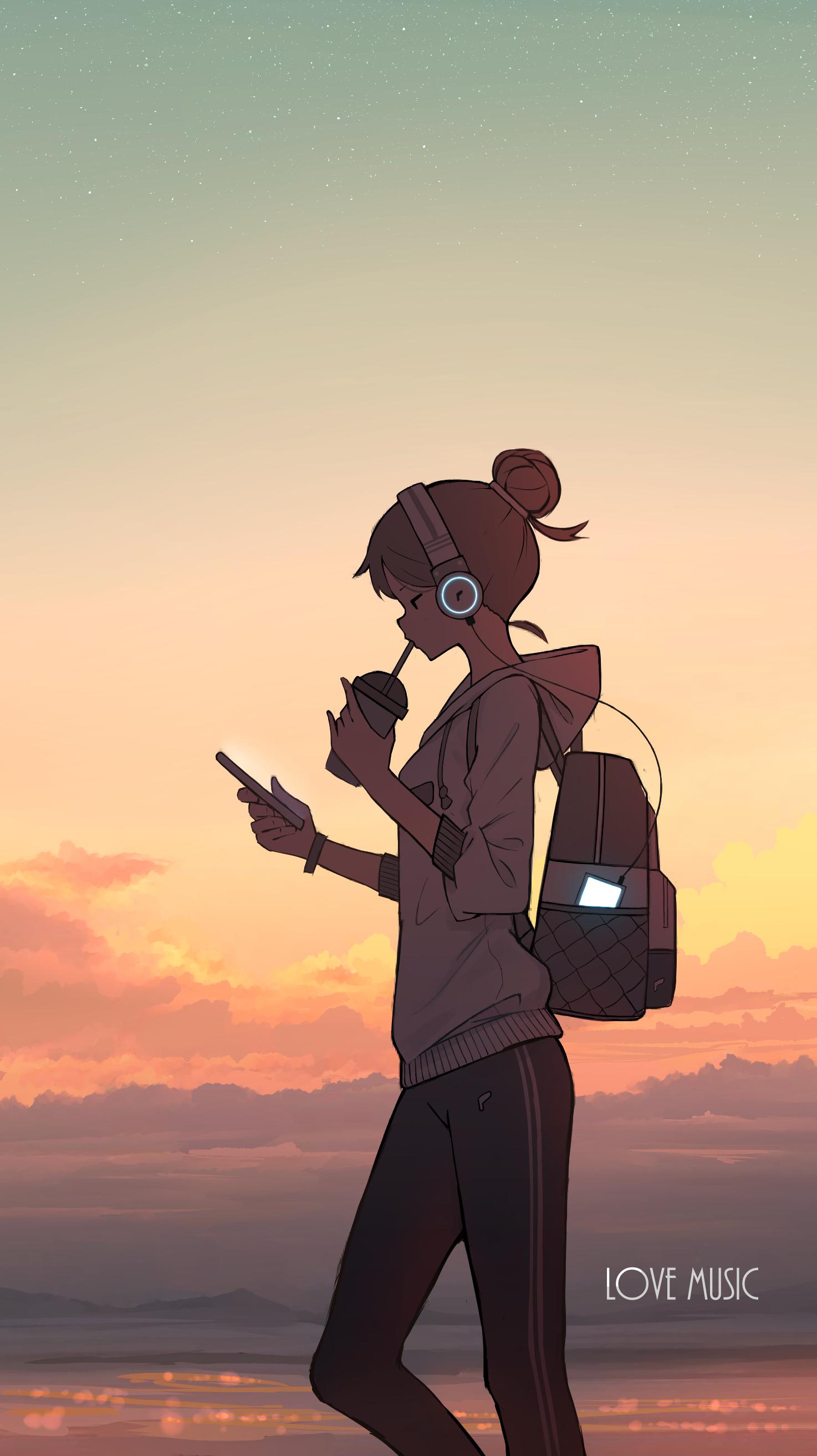 Anime Anime Girls Headphones Sunset 1474x2625