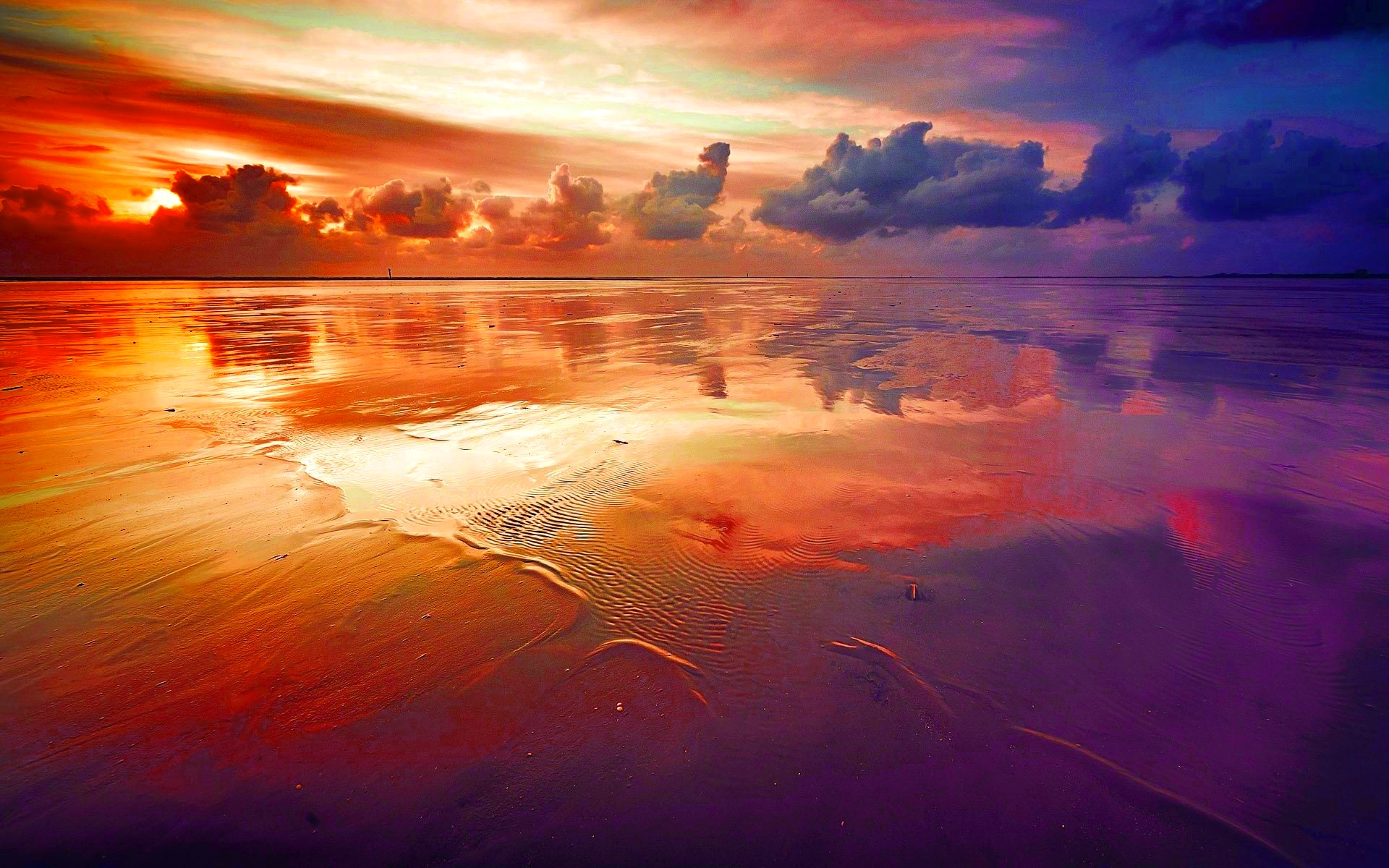 Sunset Cloud Water Sand 1920x1200