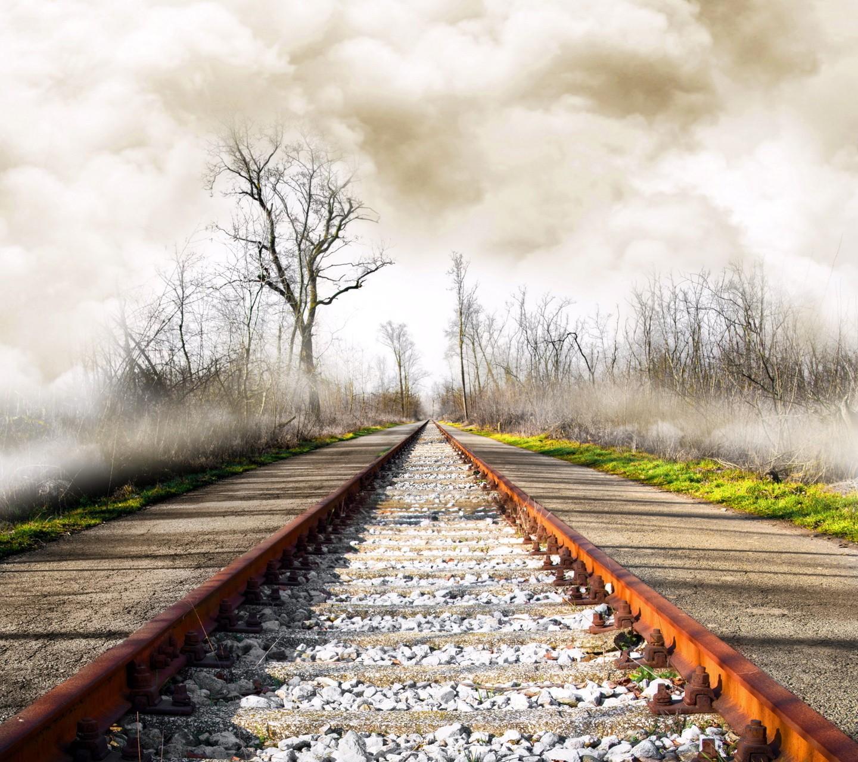 Railway Rust Railroad Track Mist 1440x1280