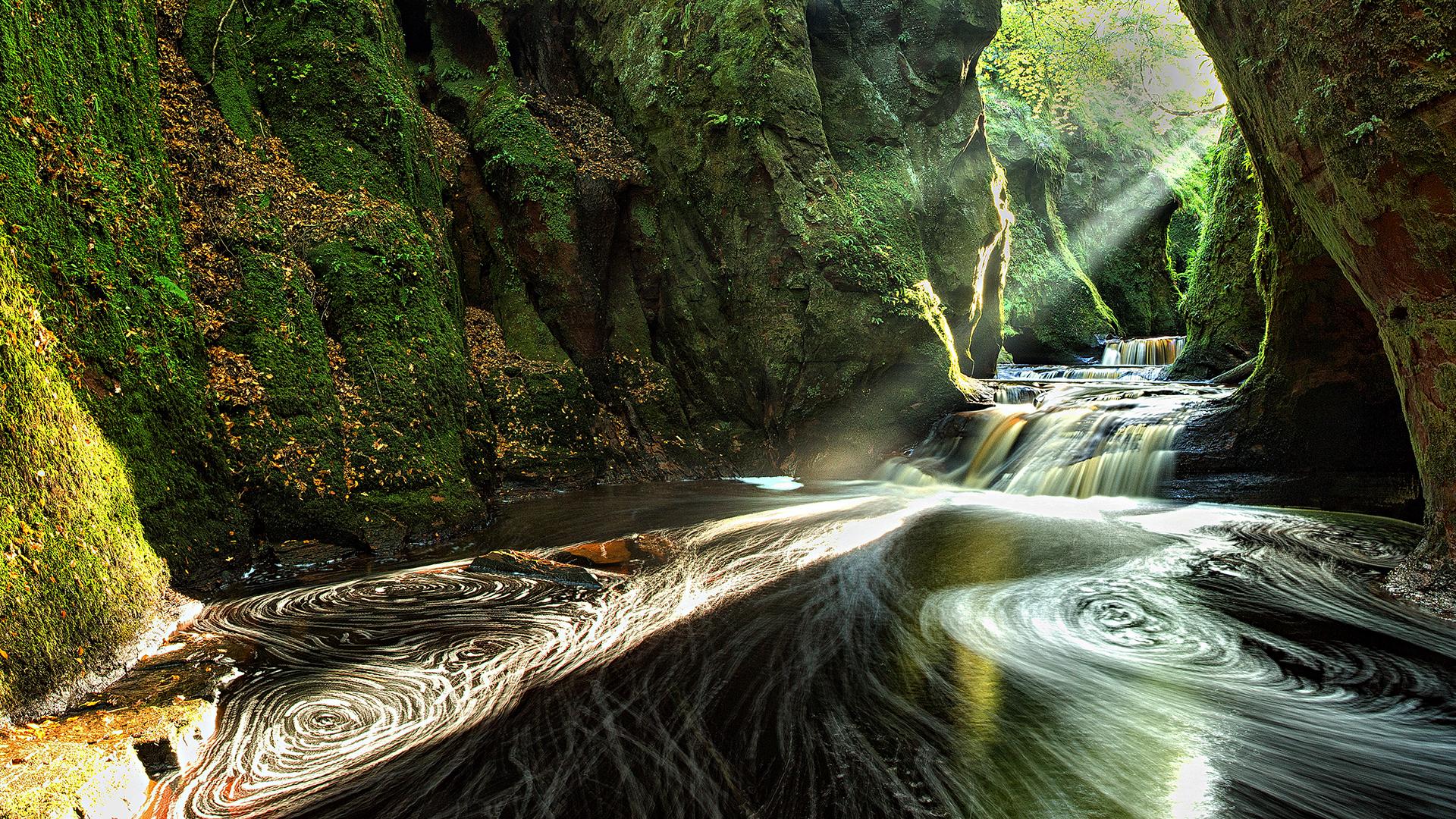 Earth Cave Green Sunshine Sun Sunbeam Waterfall Scotland Canyon 1920x1080