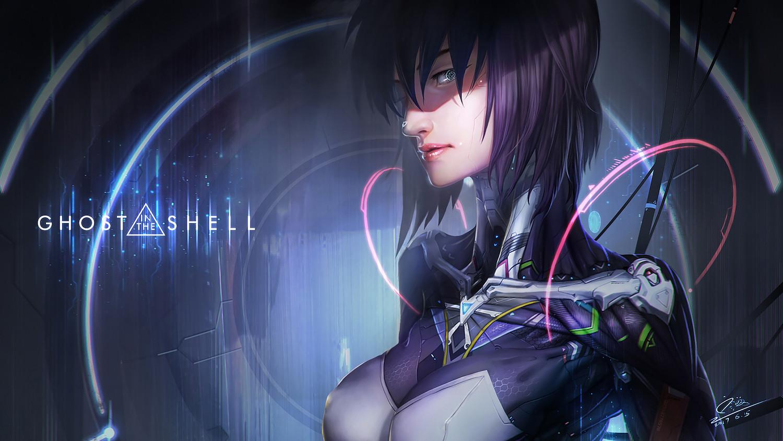 Ghost In The Shell Anime Fan Art Cyberpunk Women Digital Art Kusanagi Motoko Cyborg Purple Hair Wallpaper Resolution 1500x844 Id 346912 Wallha Com