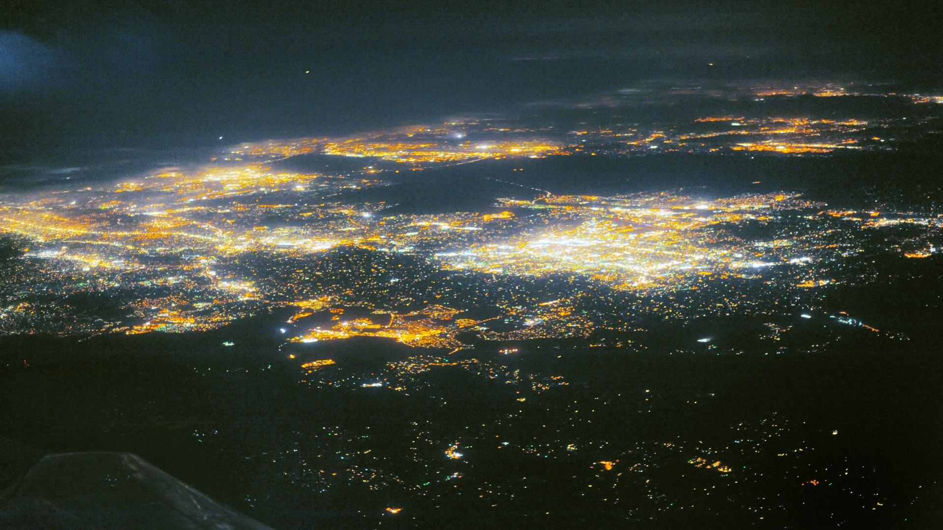 City Aerial View City Lights Night 1920x1080