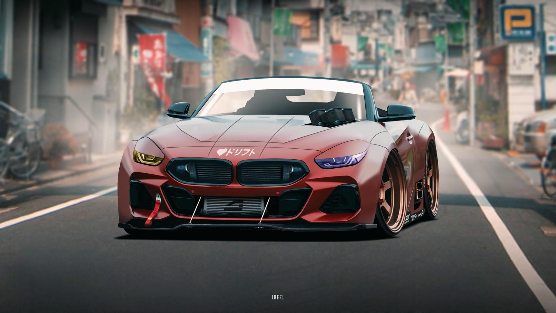 Artwork Car Red Cars Vehicle Bmw Bmw Z4 Colored Wheels Wallpaper Resolution 1920x1080 Id 307985 Wallha Com