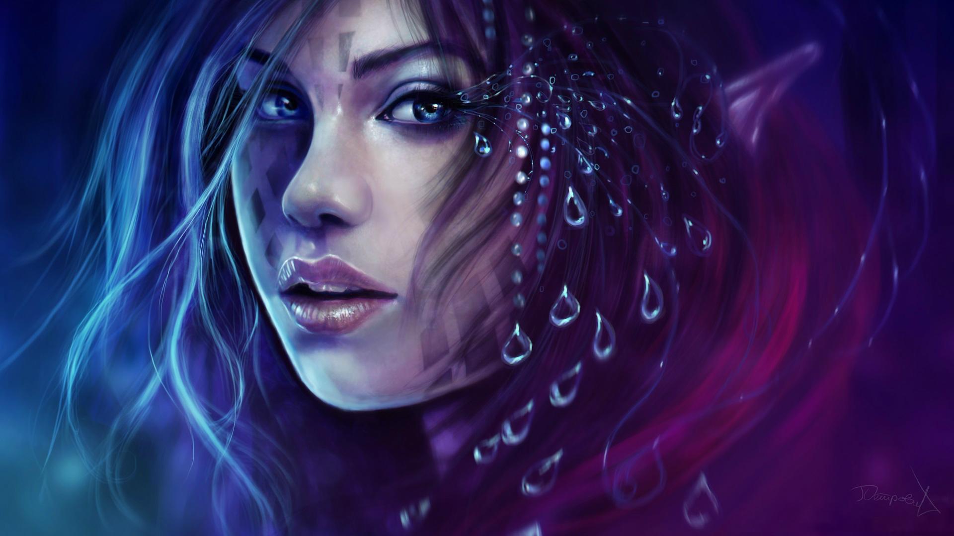 Fantasy Woman Girl Warrior Face 1920x1080