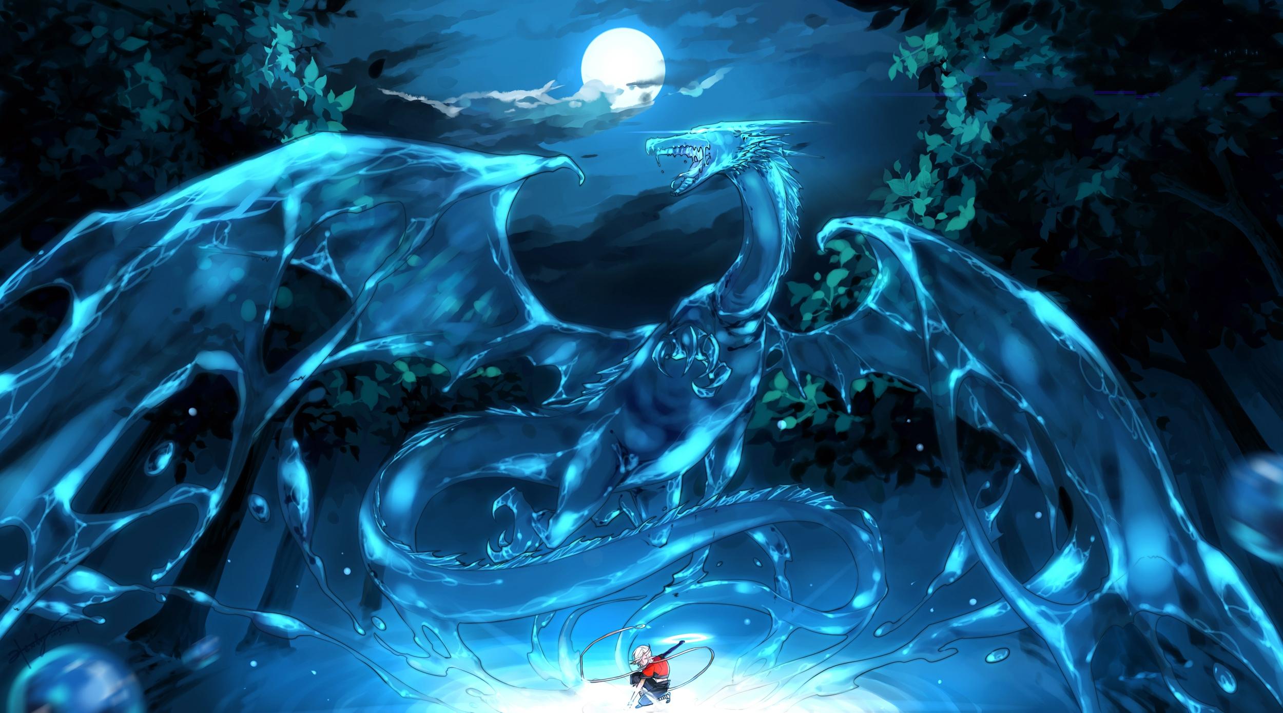 Anime Dragon Night Moon Summoner 2500x1389