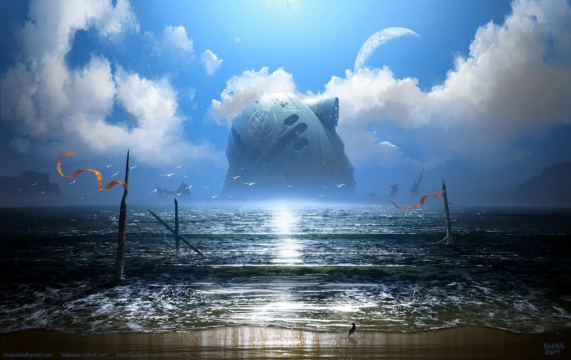 Science Fiction Digital Art Fantasy Art Sky Sea Clouds 1900x1200