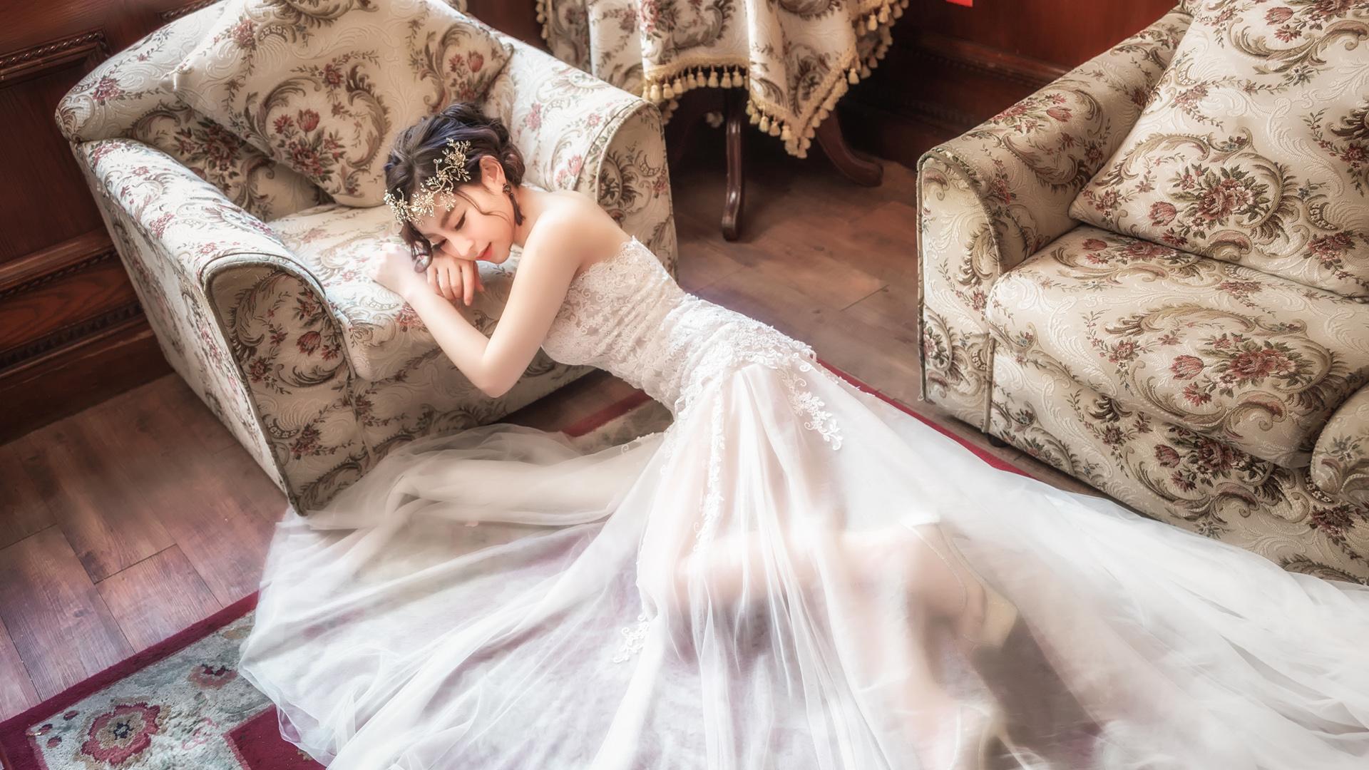 Women Model Photography Asian Brides Hair Ornament Wedding Dress Closed Eyes Women Indoors On The Fl 1920x1080