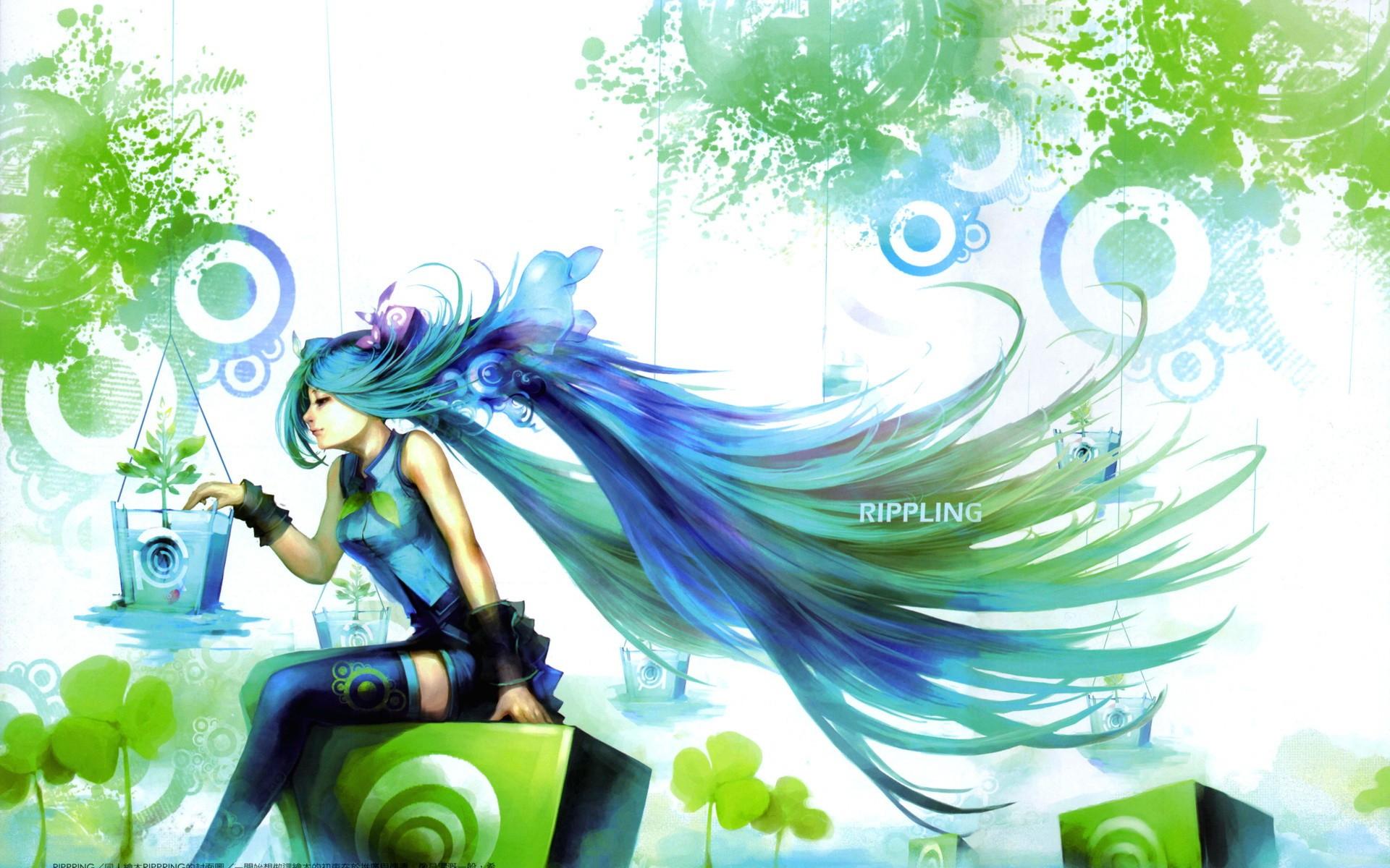 Anime Girls Hatsune Miku Anime Plants Long Hair Sitting 1920x1200