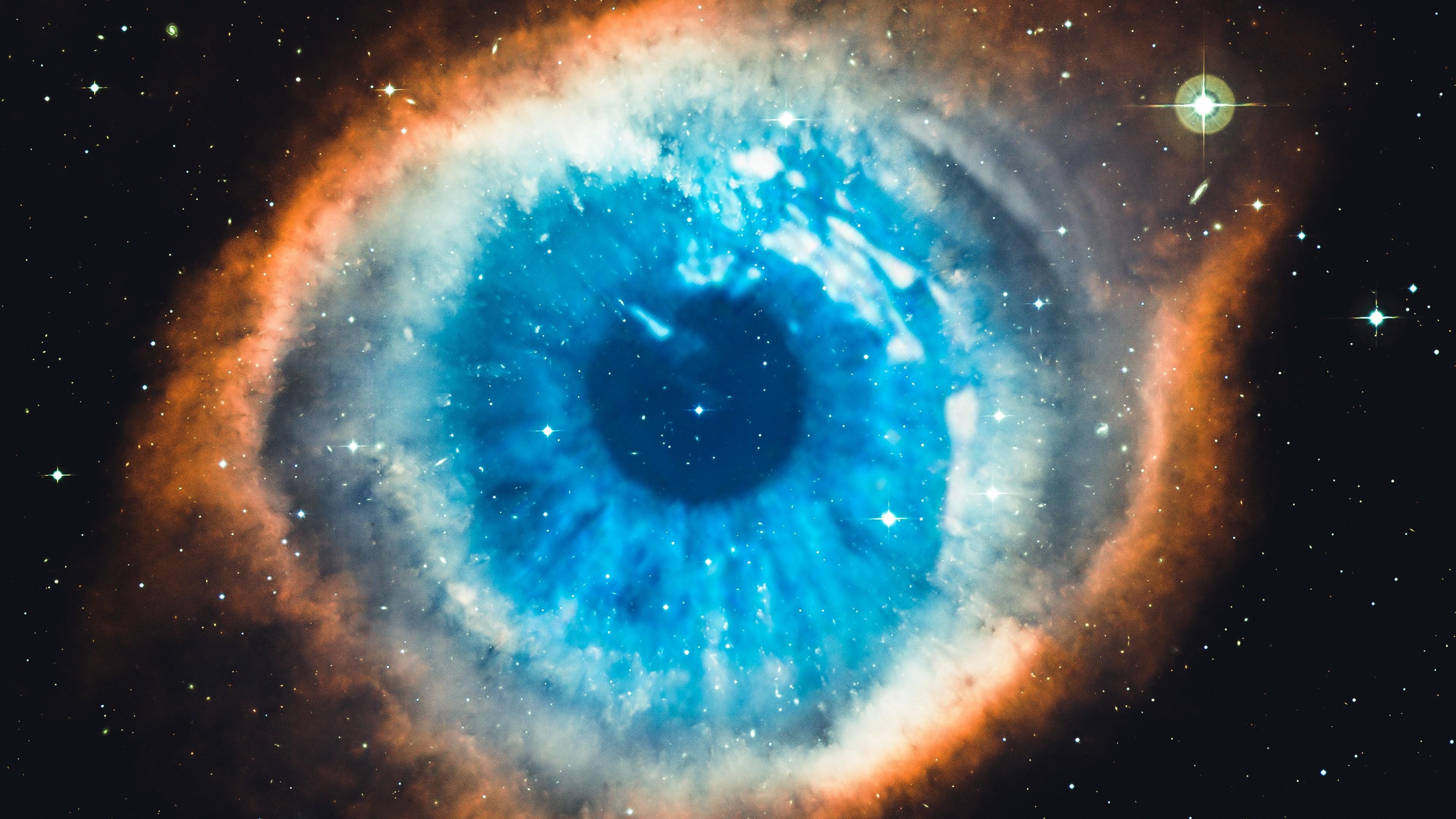 Helix Nebula Galaxy Universe Stars Space Blue White Black 3840x2160