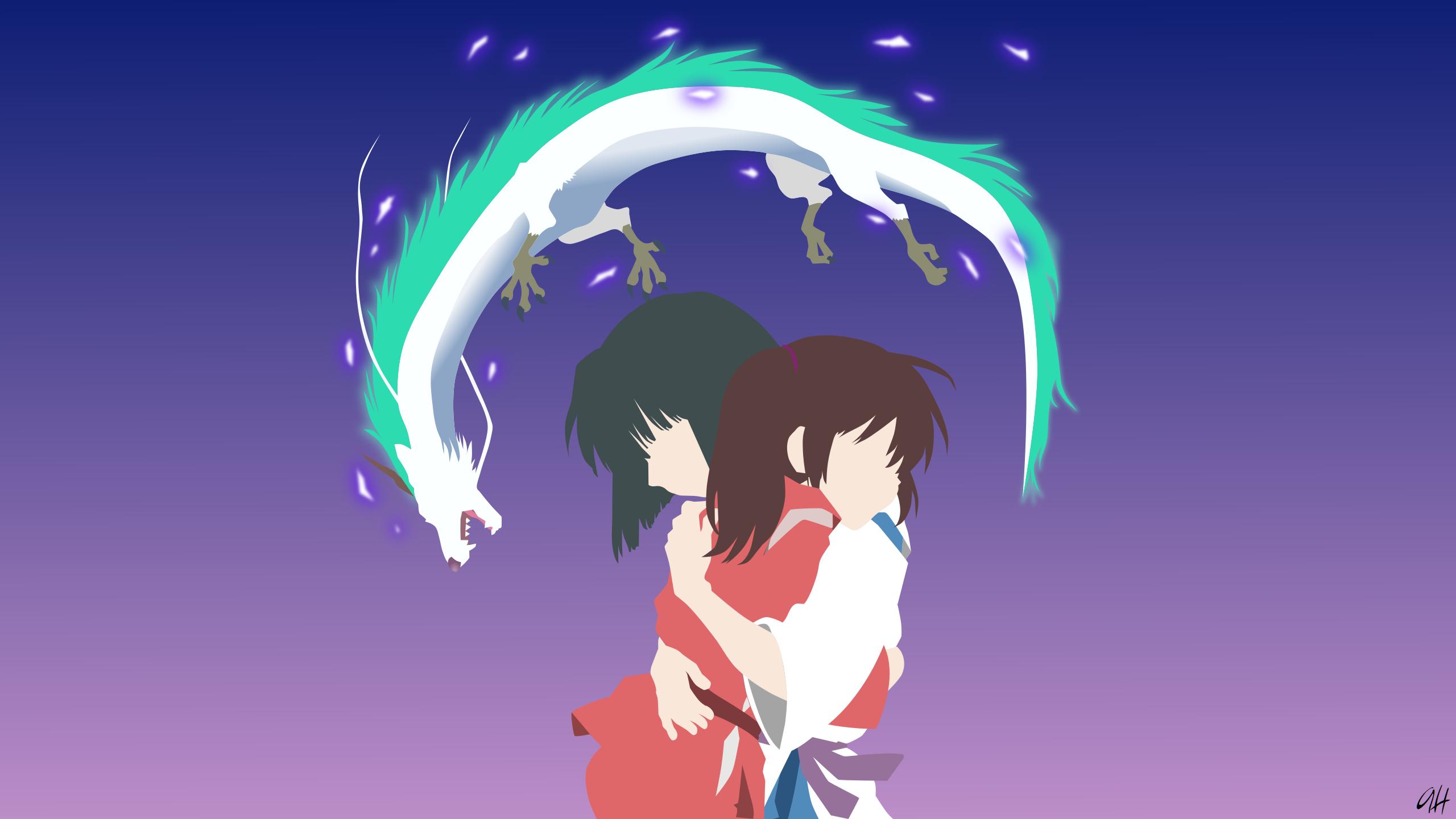 Spirited Away Chihiro Spirited Away Haku Spirited Away Anime Minimalist Wallpaper Resolution 2560x1440 Id 324095 Wallha Com