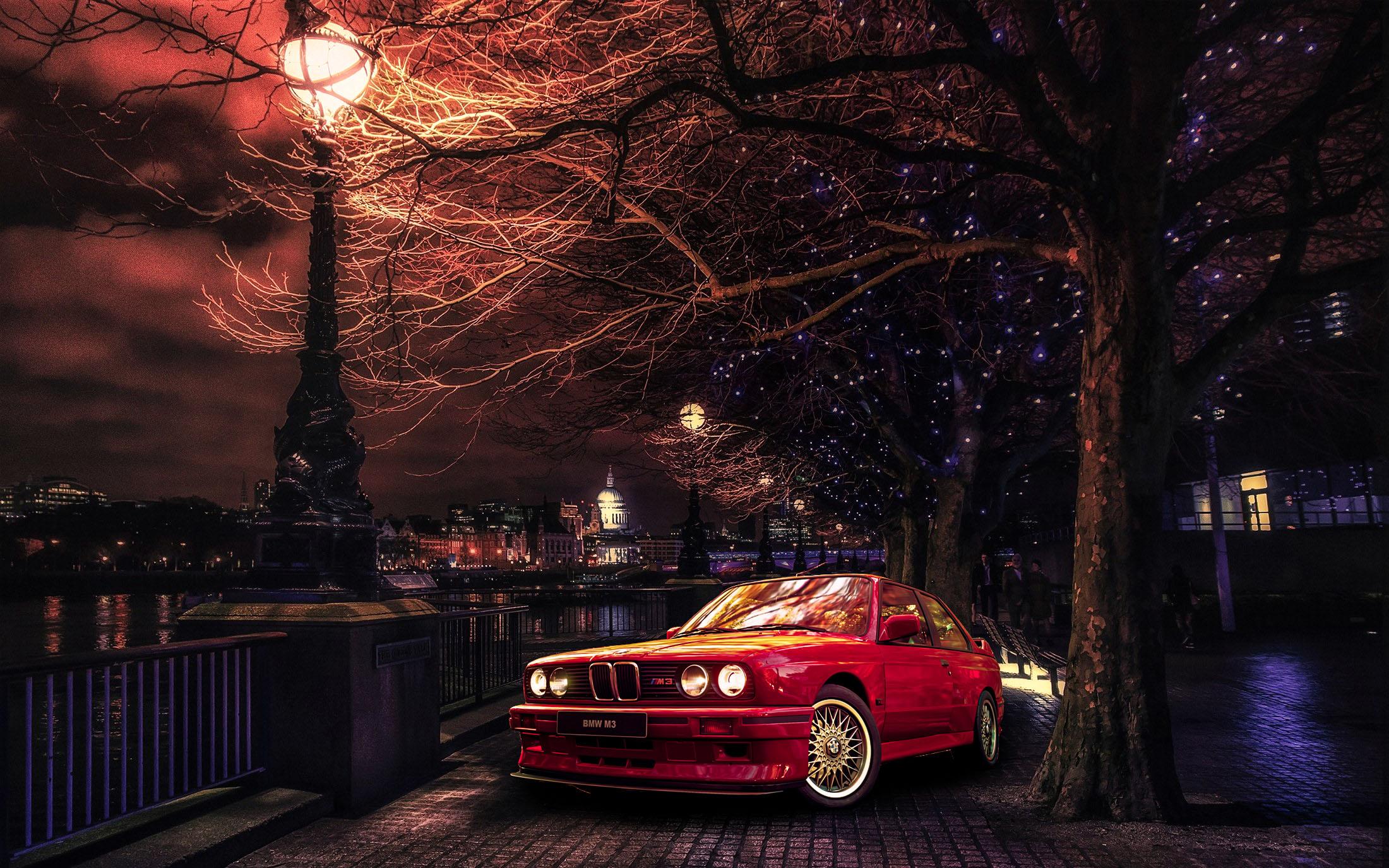 Bmw London Car Red Cars Trees Artwork Vehicle Bmw E30 Bmw 3 Series Wallpaper Resolution 2200x1375 Id 389264 Wallha Com