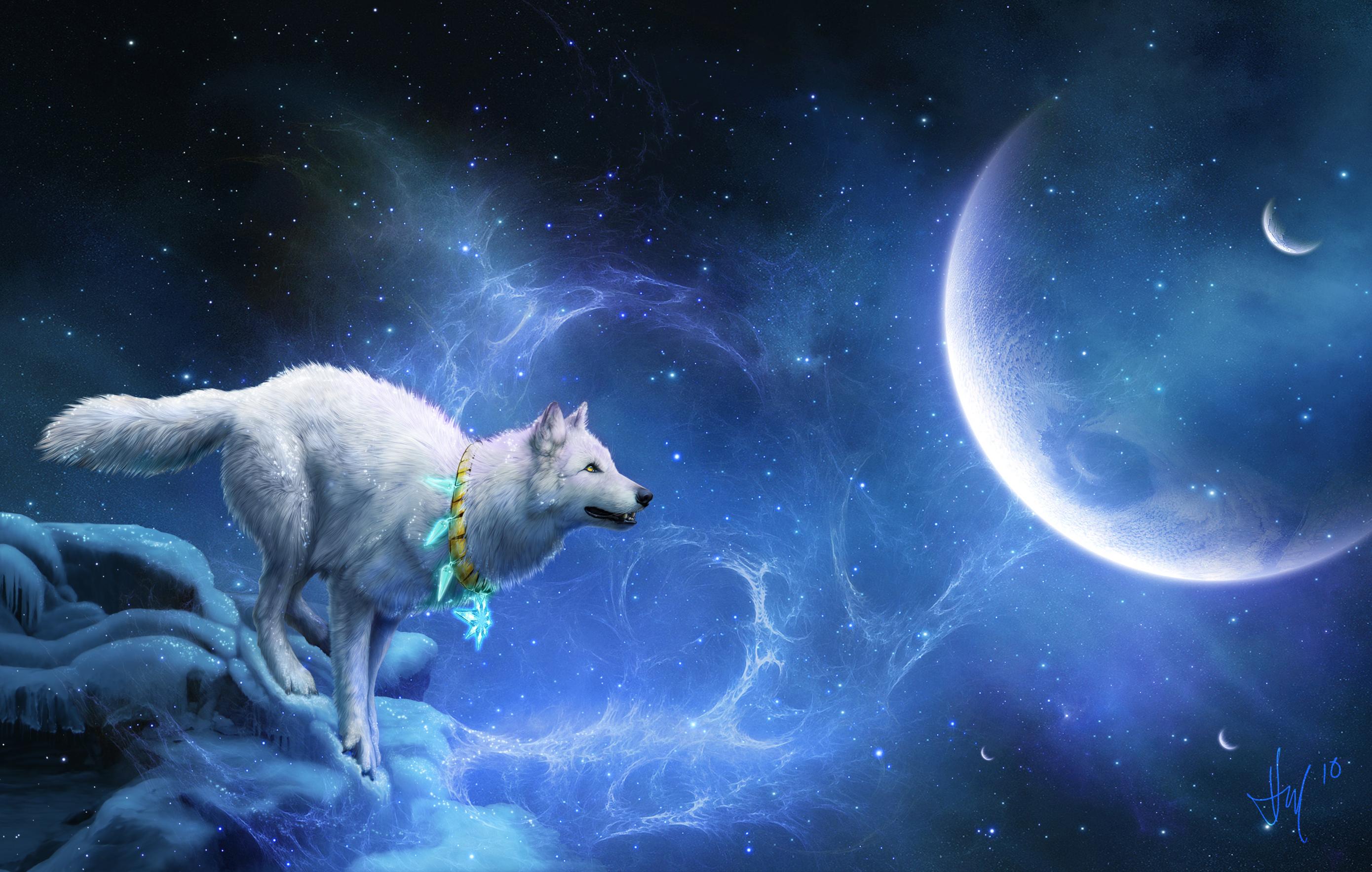 Wolf Animal Sky Stars Moon Dreamcatcher 2780x1769