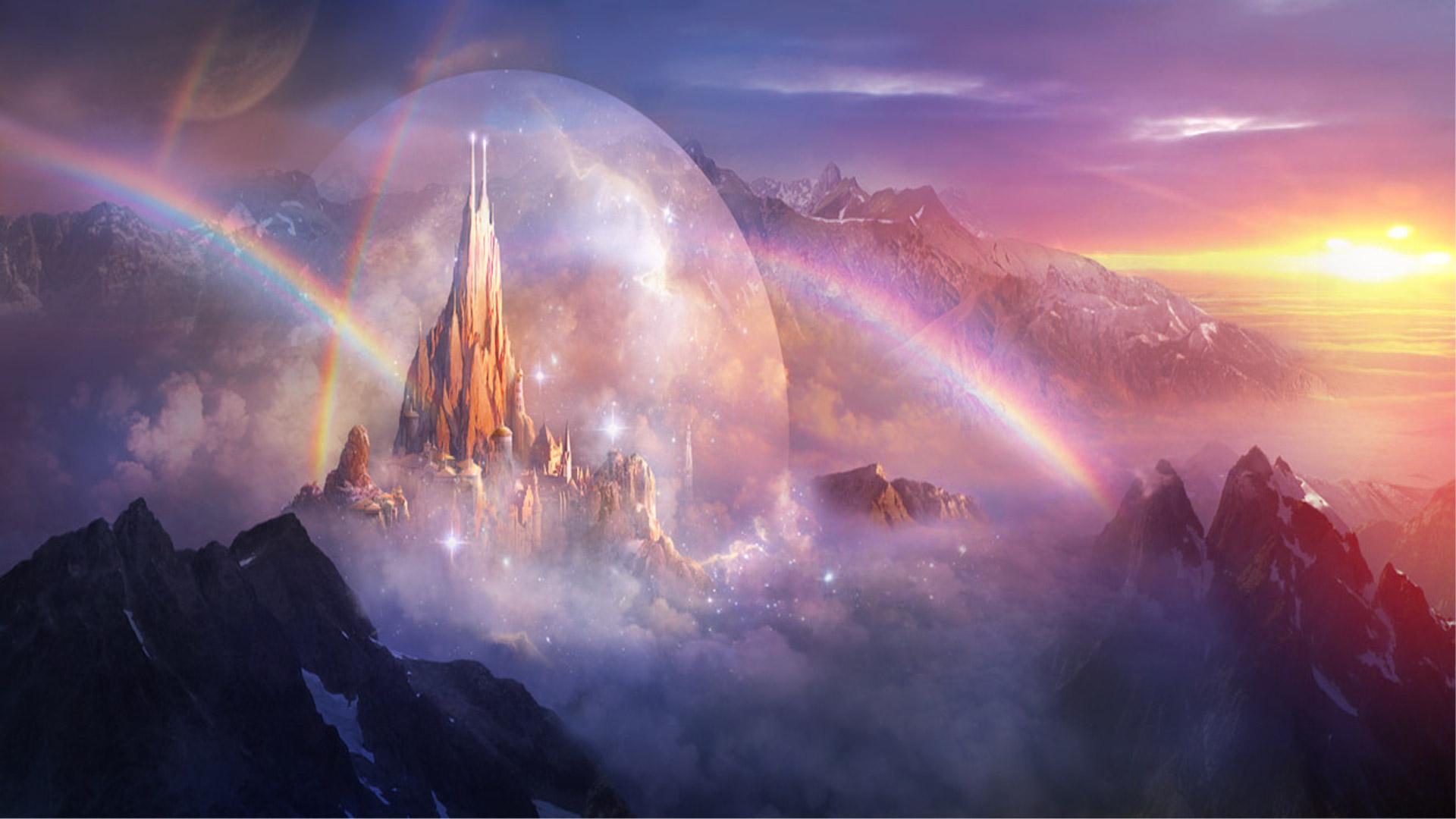 Castle Rainbow Mountain Landscape 1920x1080