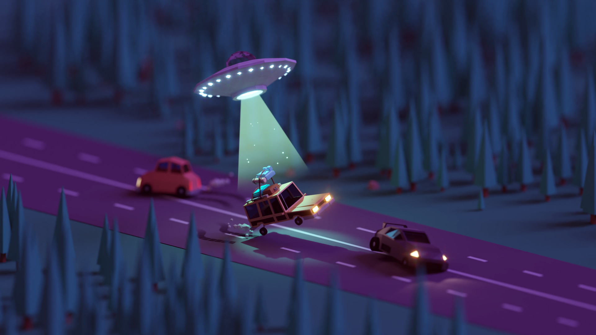 Mohamed Chahin Render Geometry Nature Forest Trees Street Car Aliens Night Macro Alien Abduction Fly 1920x1080