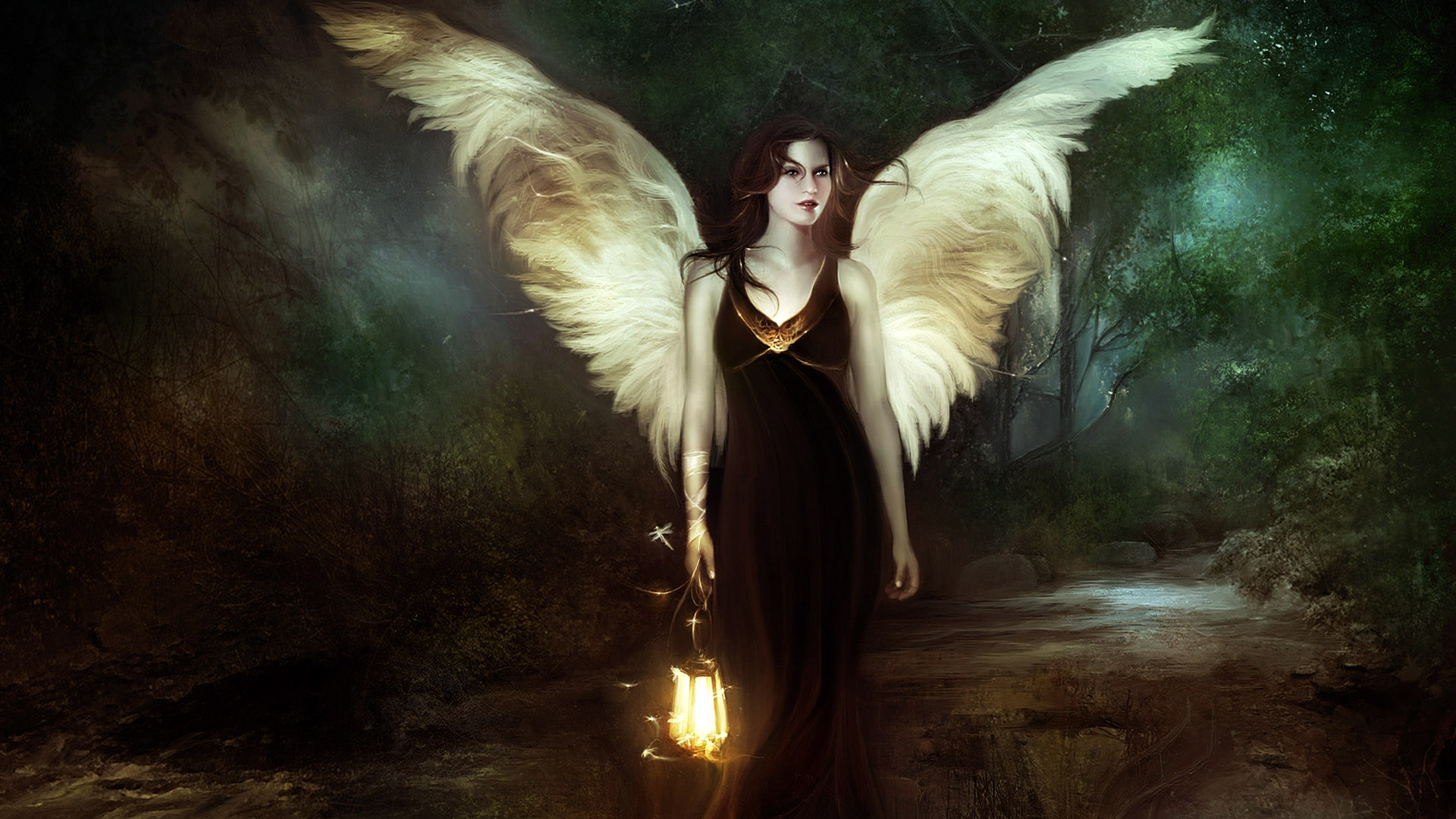 Fantasy Fairy Woman Forest Angel 1920x1080