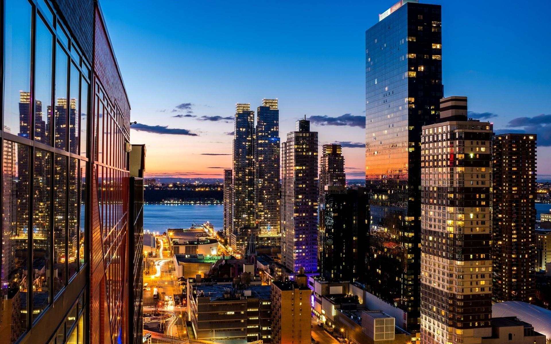 Cityscape Architecture Building New York City USA Skyscraper Sunset Evening Street Light River Windo 1920x1200