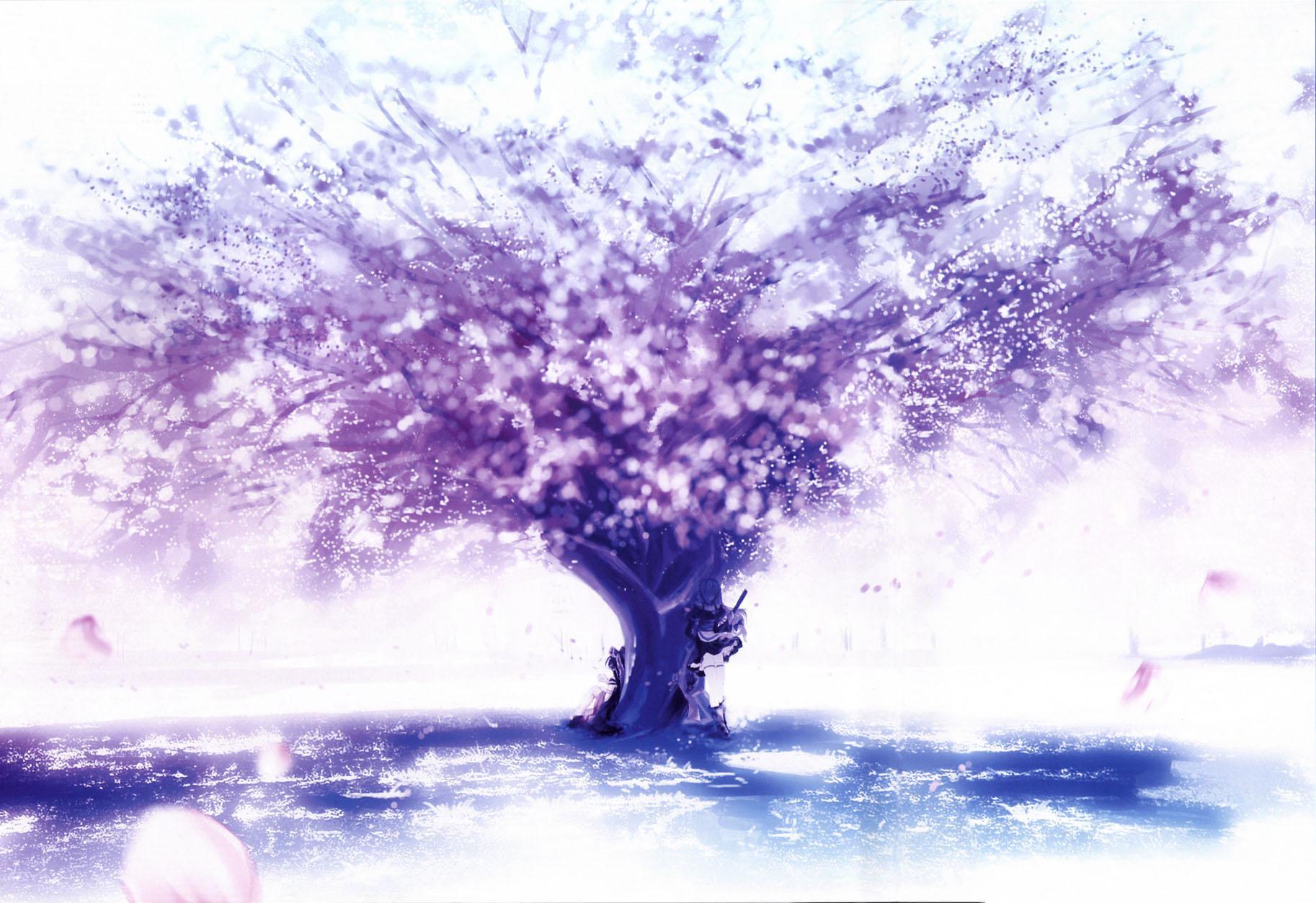 Reimu Hakurei Marisa Kirisame Touhou Purple Tree Sakura 1826x1254