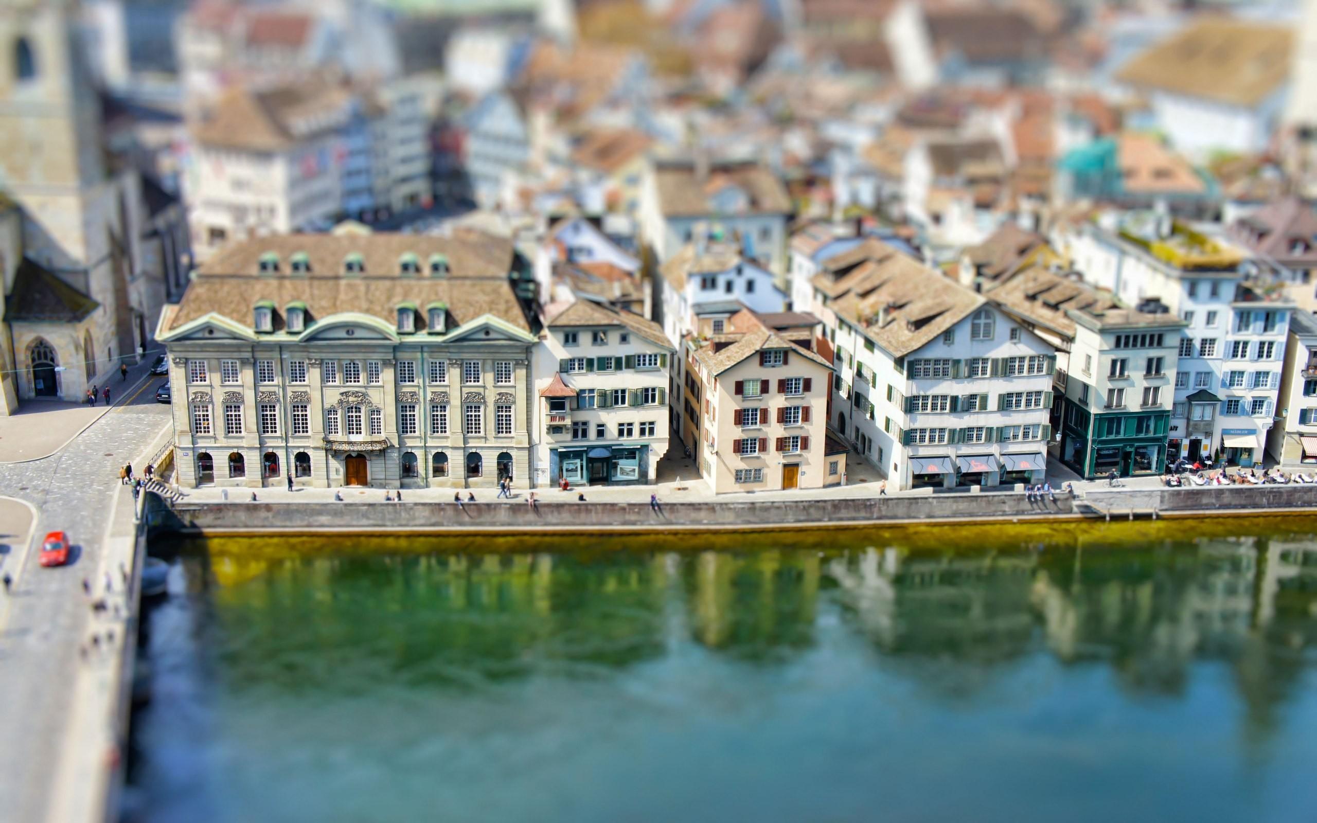 Tilt Shift Switzerland Cityscape River Europe Architecture Building Old Building Reflection Zurich 2560x1600