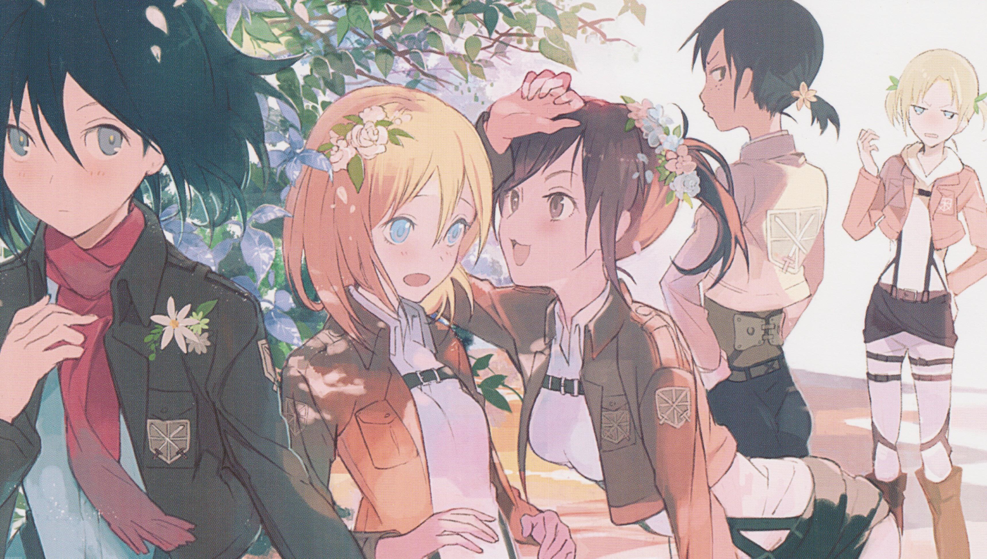 Shingeki No Kyojin Anime Girls Mikasa Ackerman Ymir Blouse Sasha Renz Christa Leonheart Annie Wallpaper Resolution 3432x1944 Id 404326 Wallha Com
