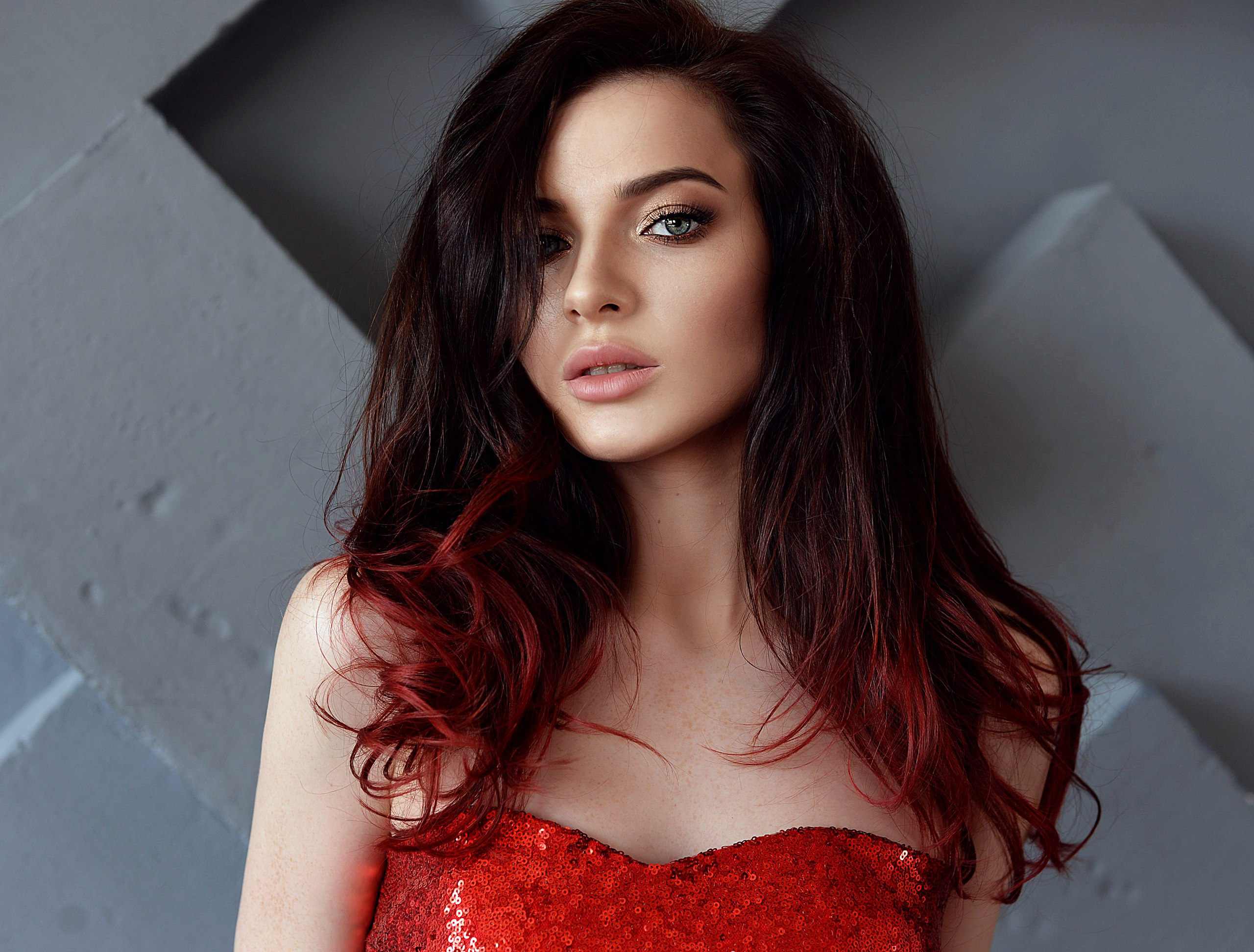 Women Dyed Hair Face Portrait 2560x1944