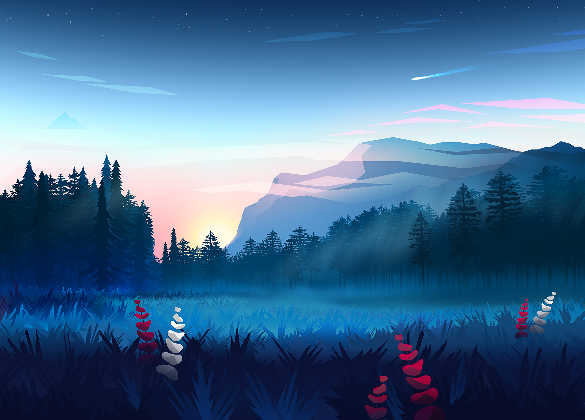 Nature Byrotek Fantasy Art Colorful Trees Wood Mountains Forest Digital Art Sunset Blue 1920x1378