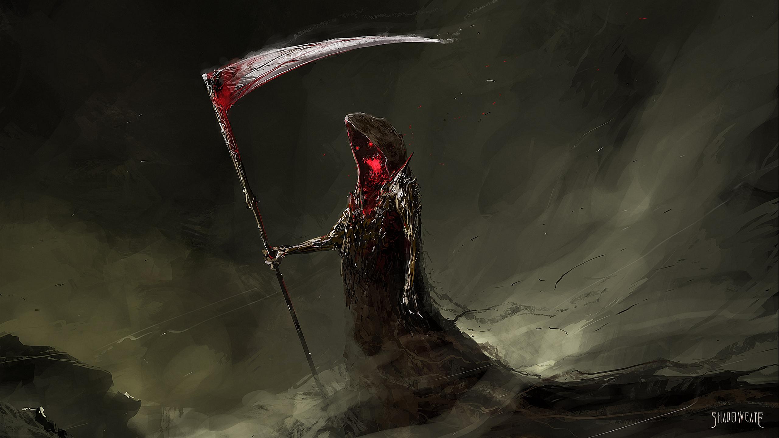 Dark Fantasy Grim Reaper Wallpaper Resolution 2560x1440 Id 454296 Wallha Com