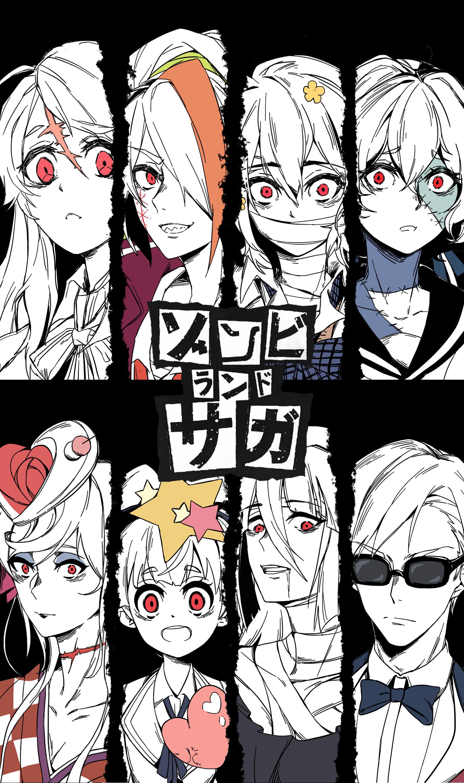 Zombieland Saga Anime Girls Anime Boys Vertical 2D Digital Art Fan Art Sunglasses Simple Background  1613x2720
