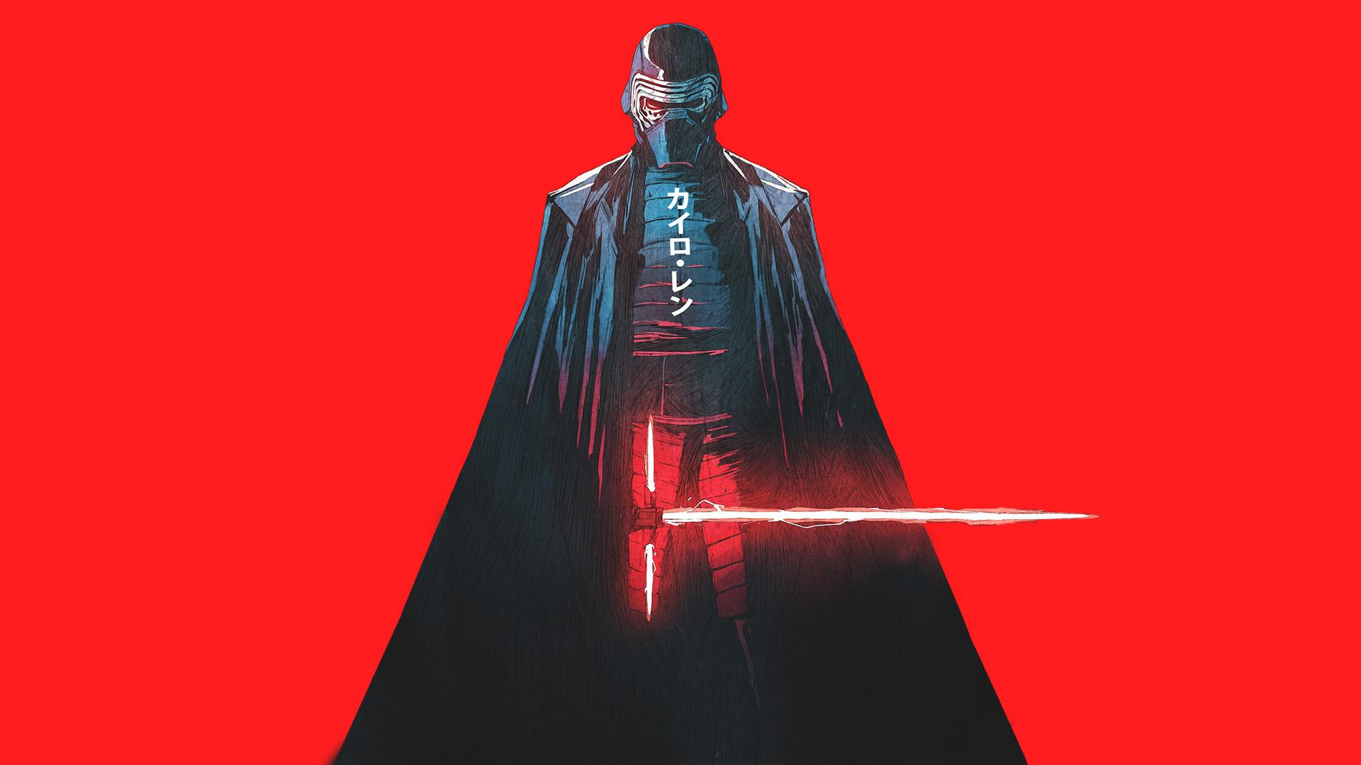 Star Wars Sword Warrior Red Neon Digital Art Red Background Kylo Ren Wallpaper Resolution 1920x1080 Id 506707 Wallha Com