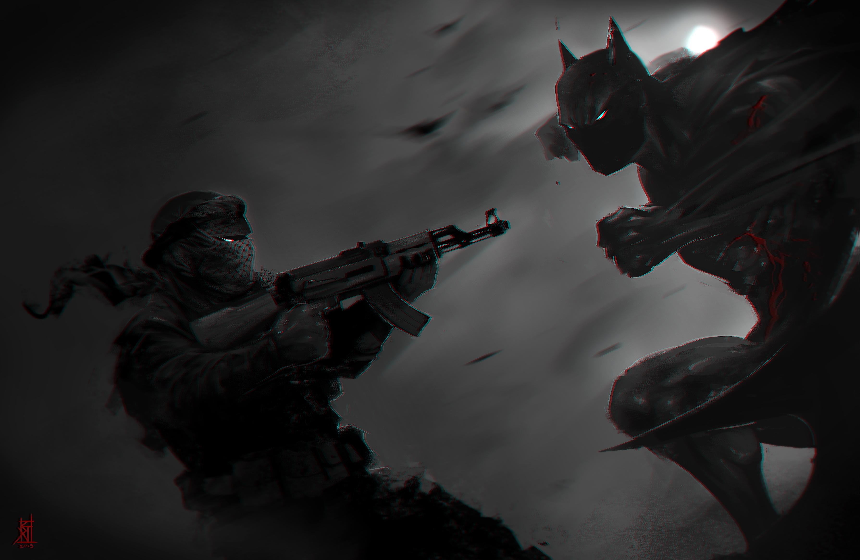 Superhero AK 47 Fight Batman Dark Soldier Assault Rifle 3579x2333