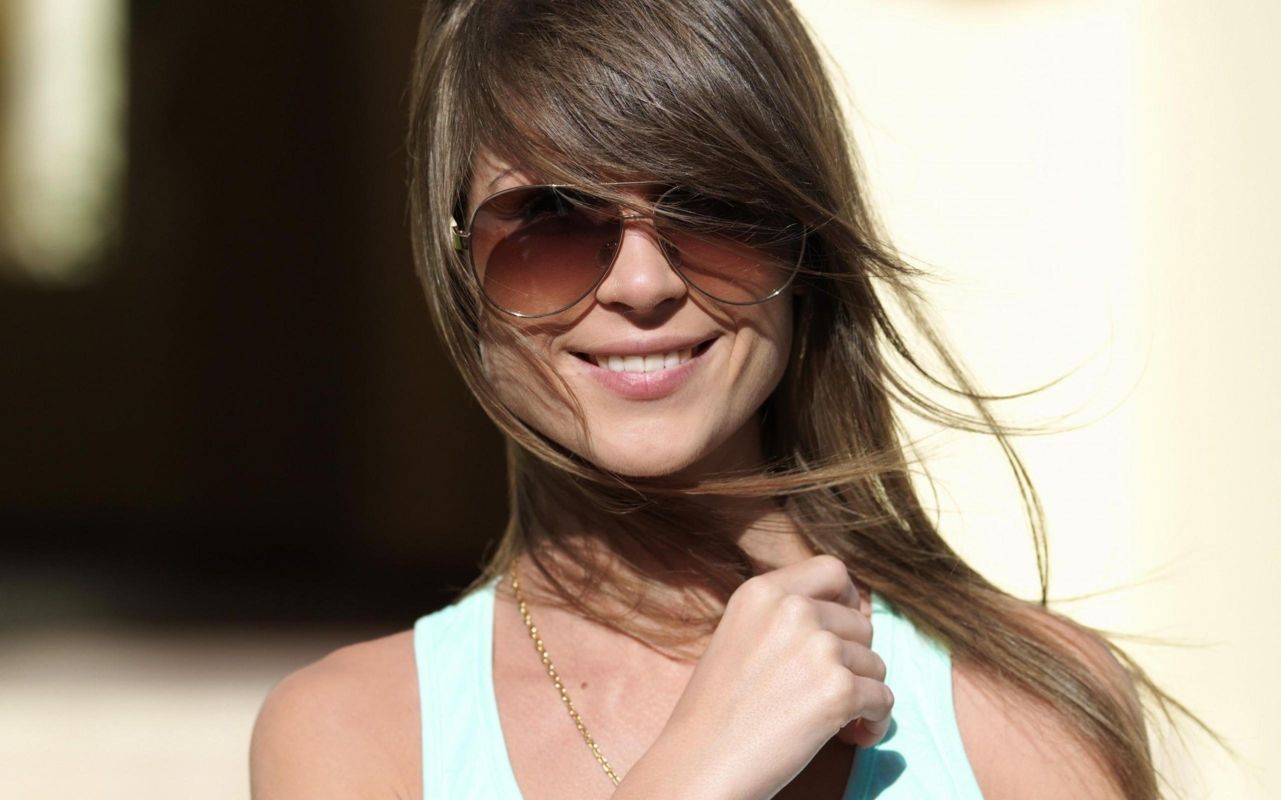 Women Women With Shades Smiling Brunette 2560x1600