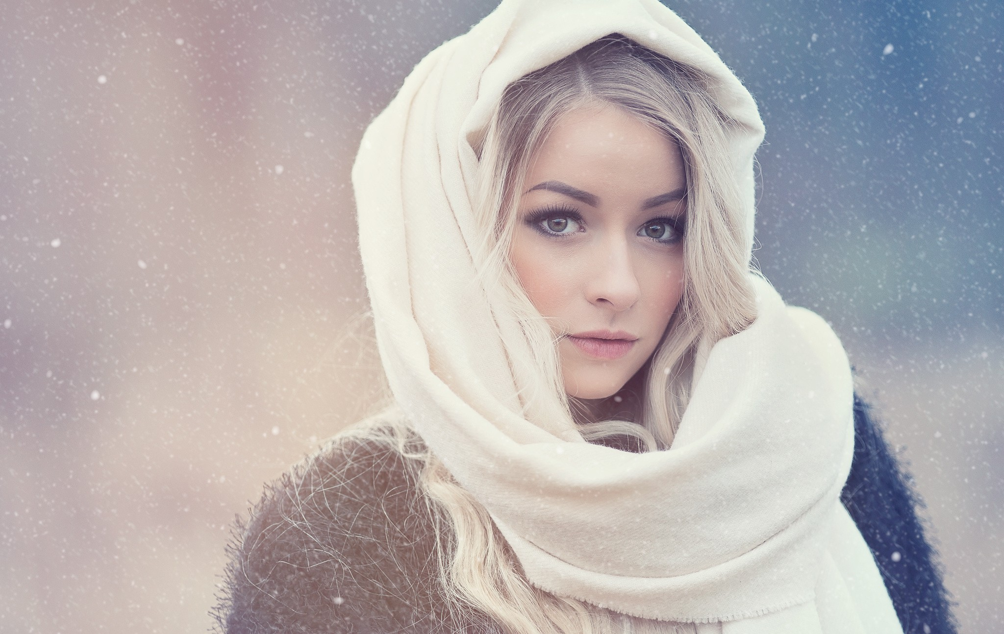 Women Blonde Cold Long Hair Looking At Viewer Snowflakes Hoods Scarf Portrait 2048x1294
