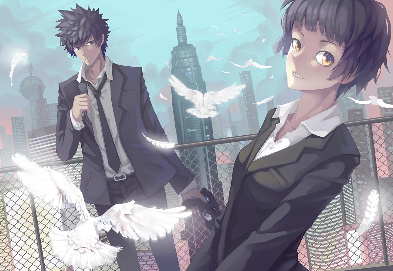 Psycho Pass Tsunemori Akane Kougami Shinya Wallpaper Resolution 1295x895 Id 528343 Wallha Com