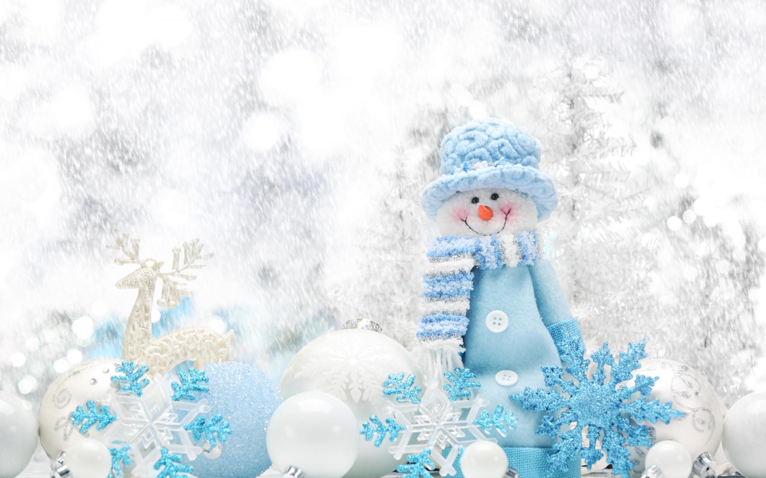 Christmas Christmas Ornaments Snowman Holiday Blue White Snowflake Snow 2560x1600