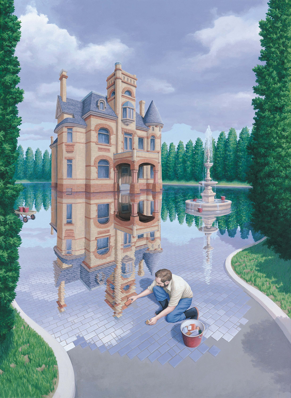 Digital Art Optical Illusion Drawing Artwork Portrait Display Men Castle Tiles Water Reflection Foun 2189x3000