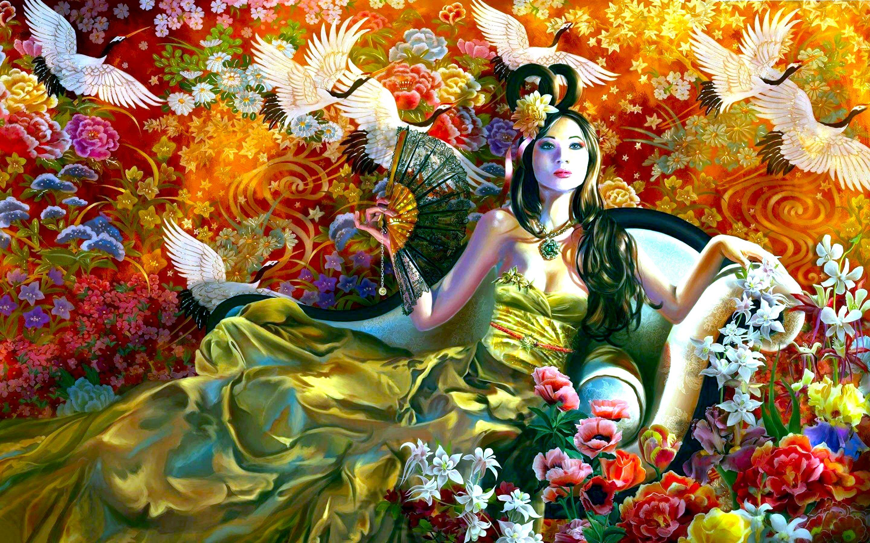 Fan Dress Oriental Colorful Artistic Asian 2880x1800
