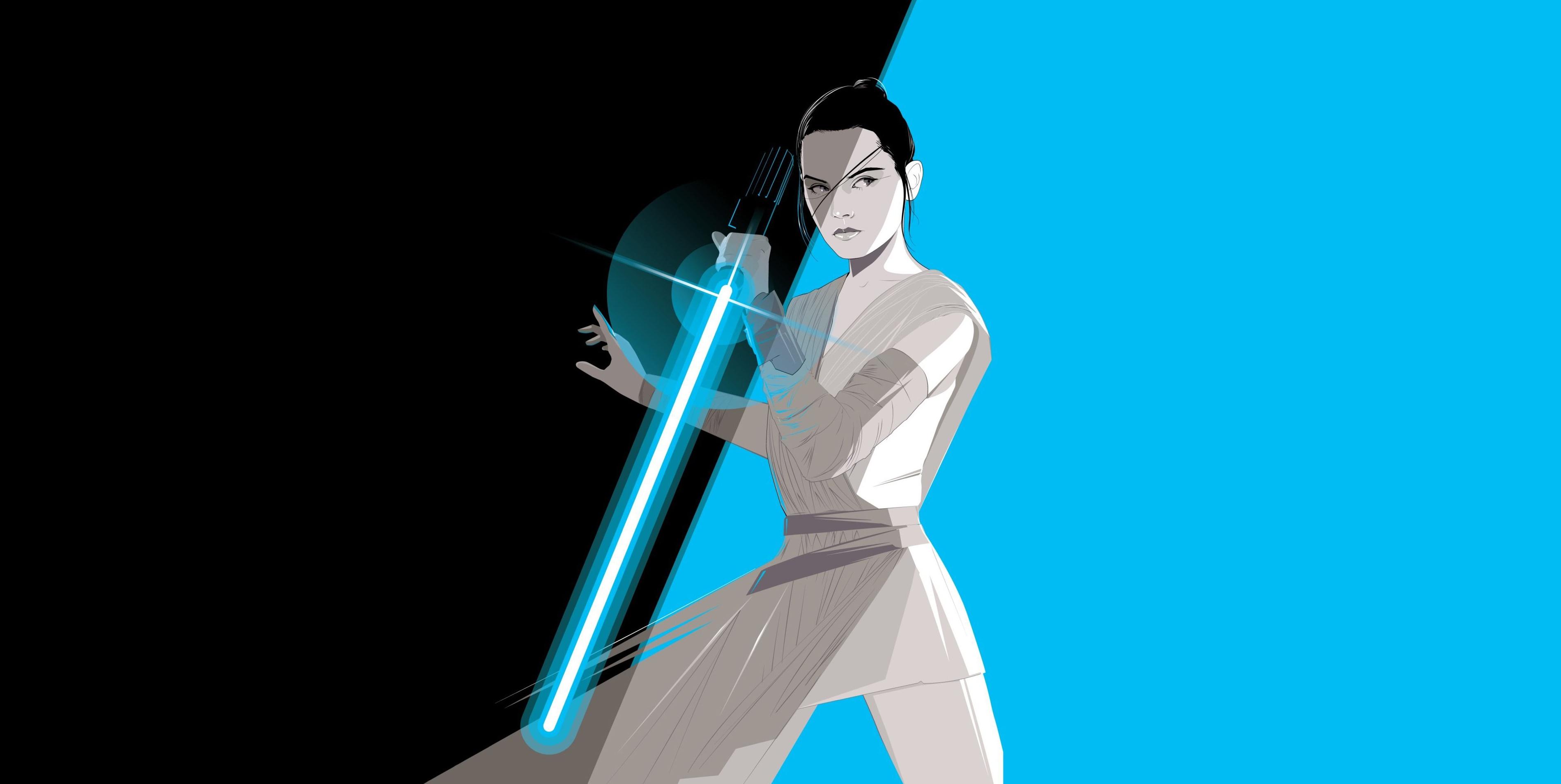 Rey Star Wars Lightsaber Simple Cyan 3800x1910